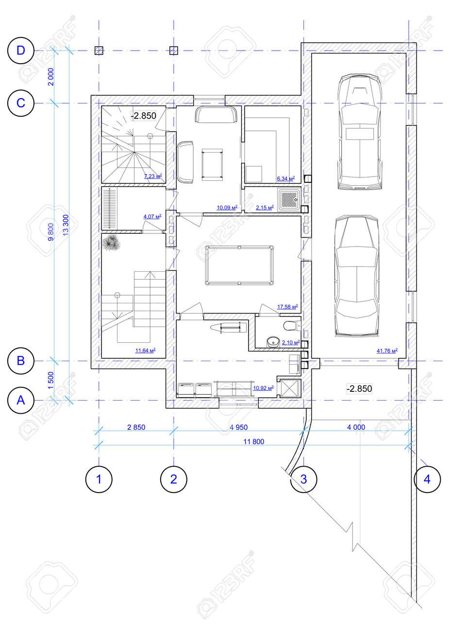 Plan De Arquitectura Blanco Y Negro De 0 Piso De La Casa Con Una ...