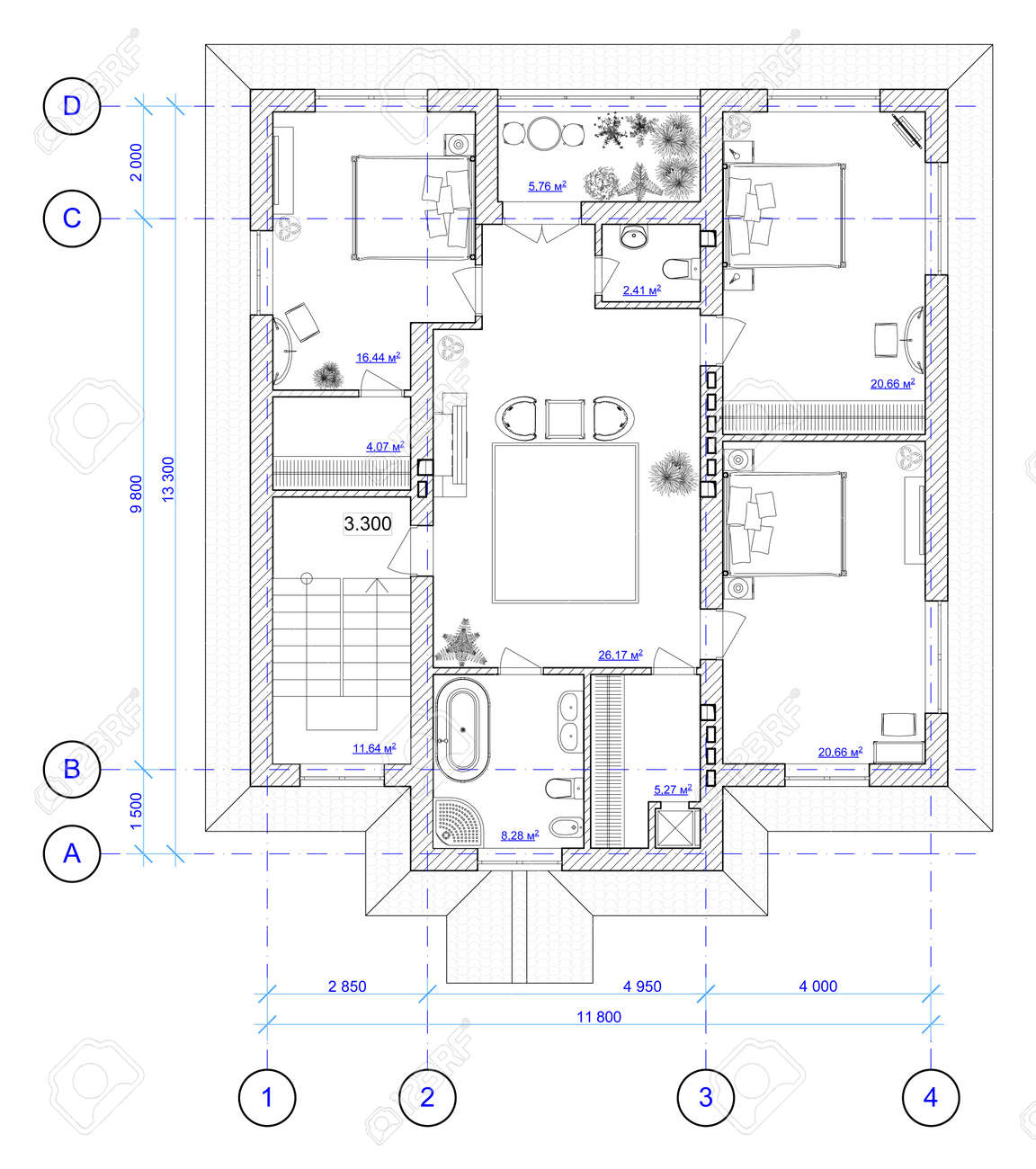 architectural black and white plan of 2 floor of house with a architectural black and white plan of 2 floor of house with a placement of furniture stock