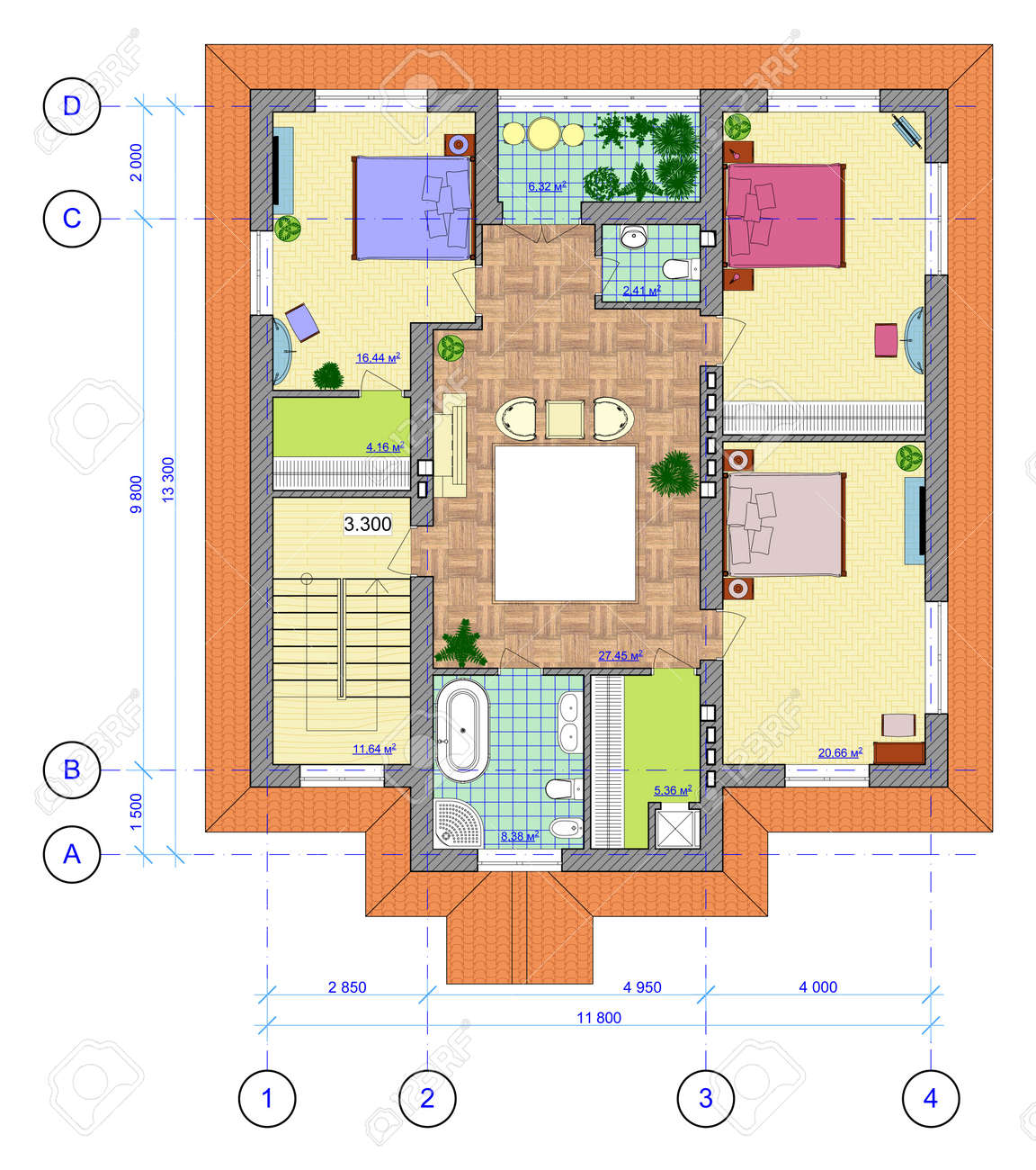 Architectural Multicolored Plan Of 2 Floor Of House With A Placement