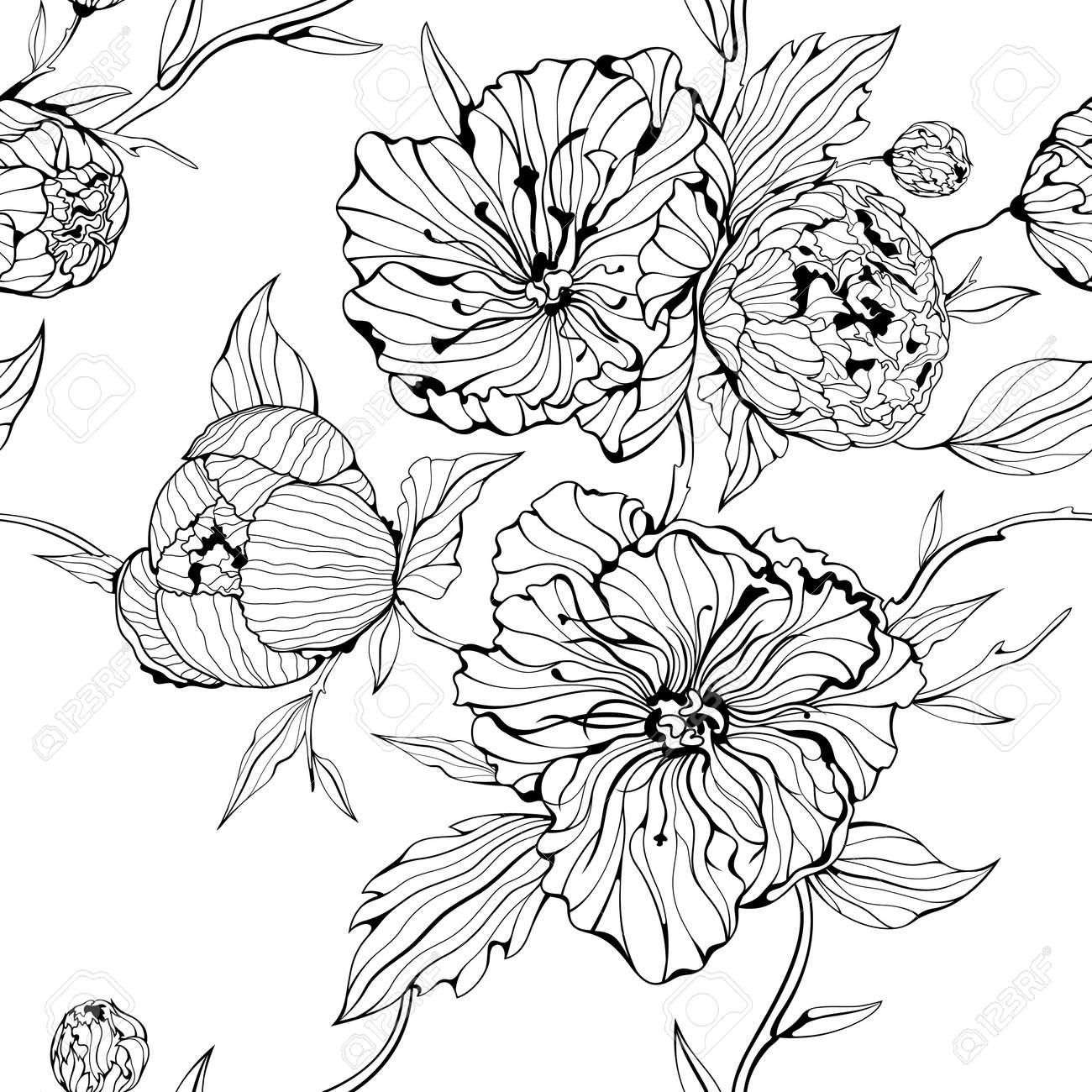 Нарисованные цветы черно-белые