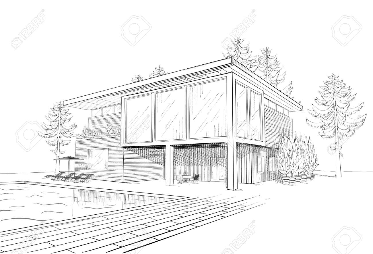Vector Black And White Sketch Of Modern Suburban Wooden House