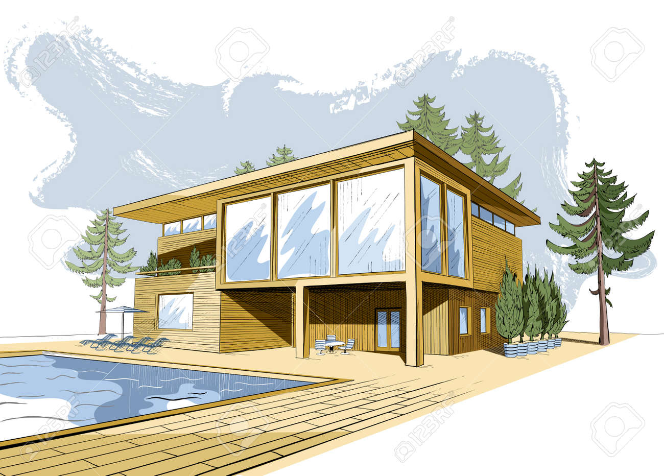 Colored Sketch Of Modern Suburban Wooden House With Swimming Pool And  Chaise Lounges Stock Vector