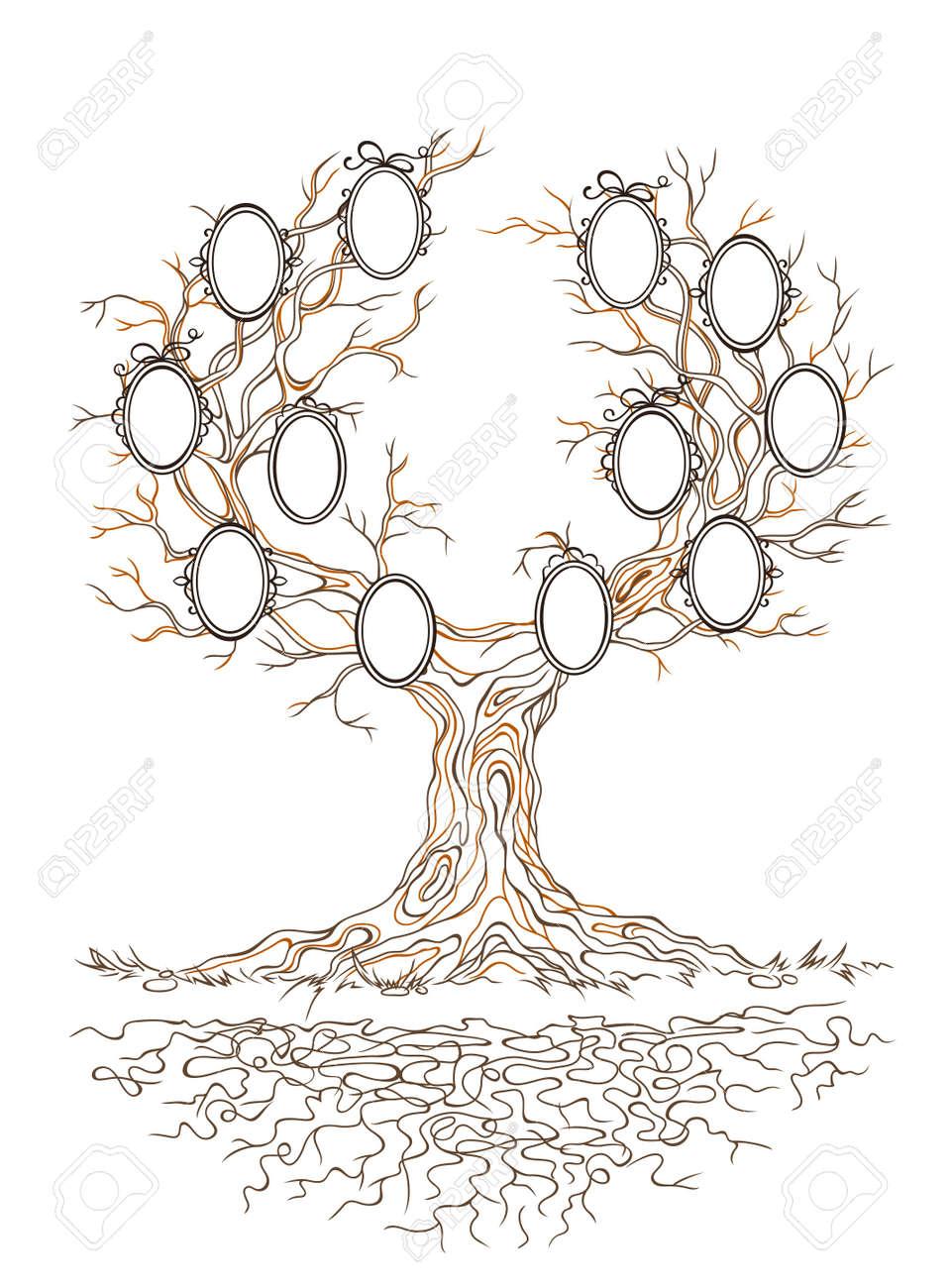 Gráfico Lineal Viejo árbol Grande Rama Rancio Con Marcos Para ...