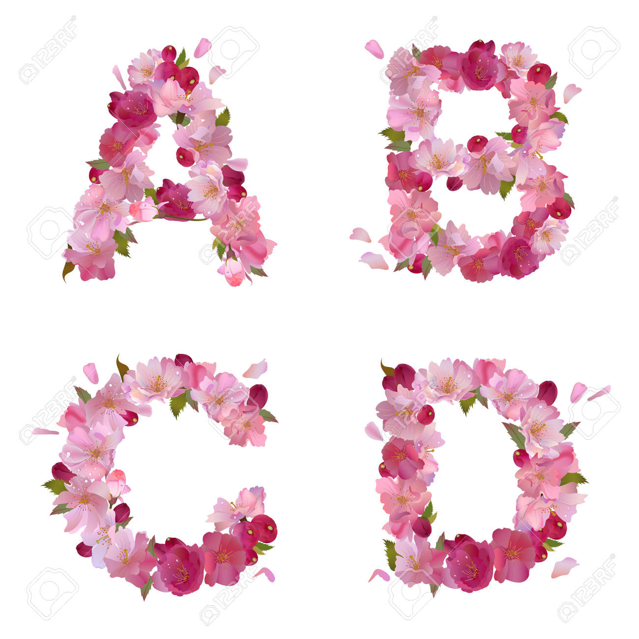 Spring Alphabet With Gentle Pink Sakura Flowers Letters A B C D