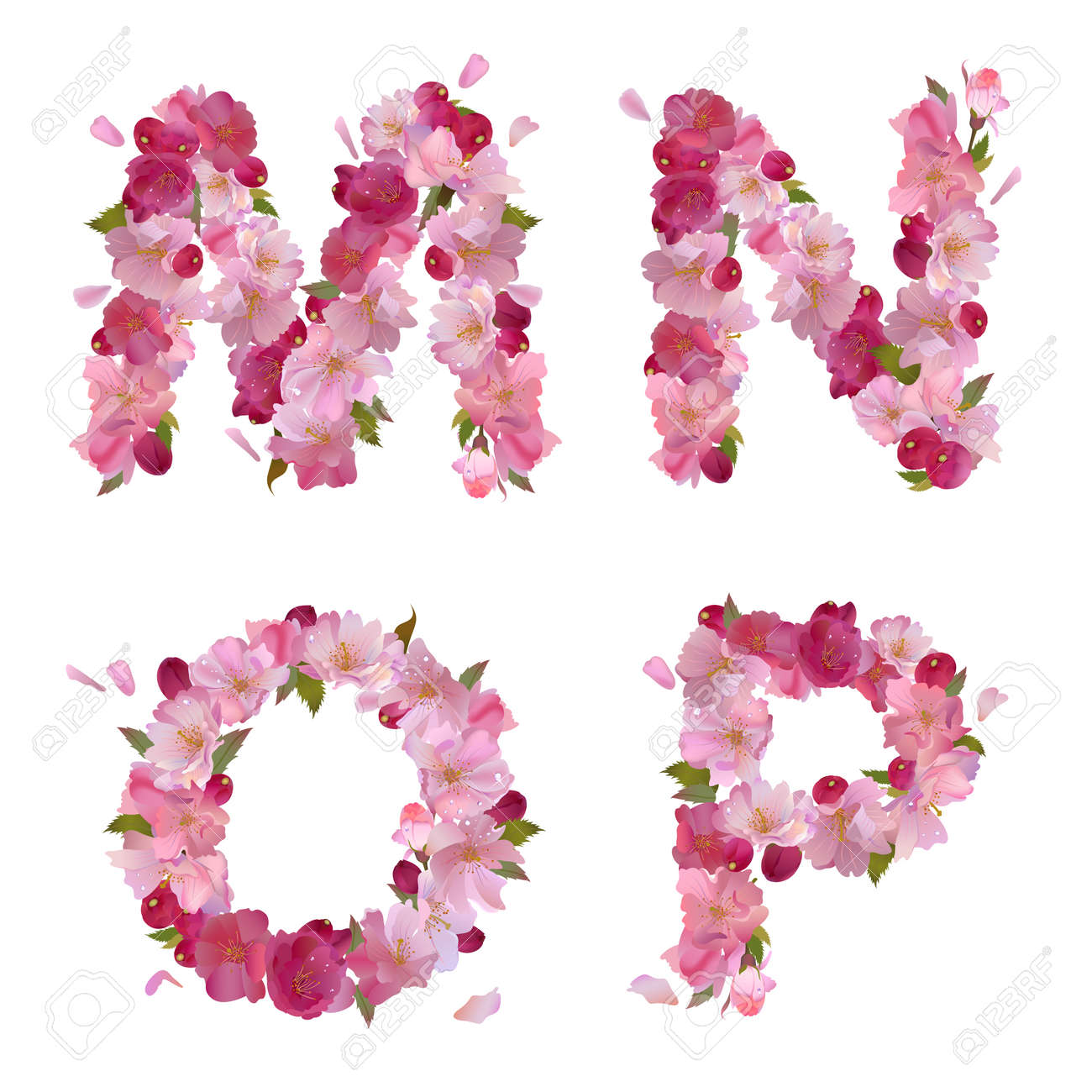 pink letters spring alphabet with gentle pink sakura flowers letters mno