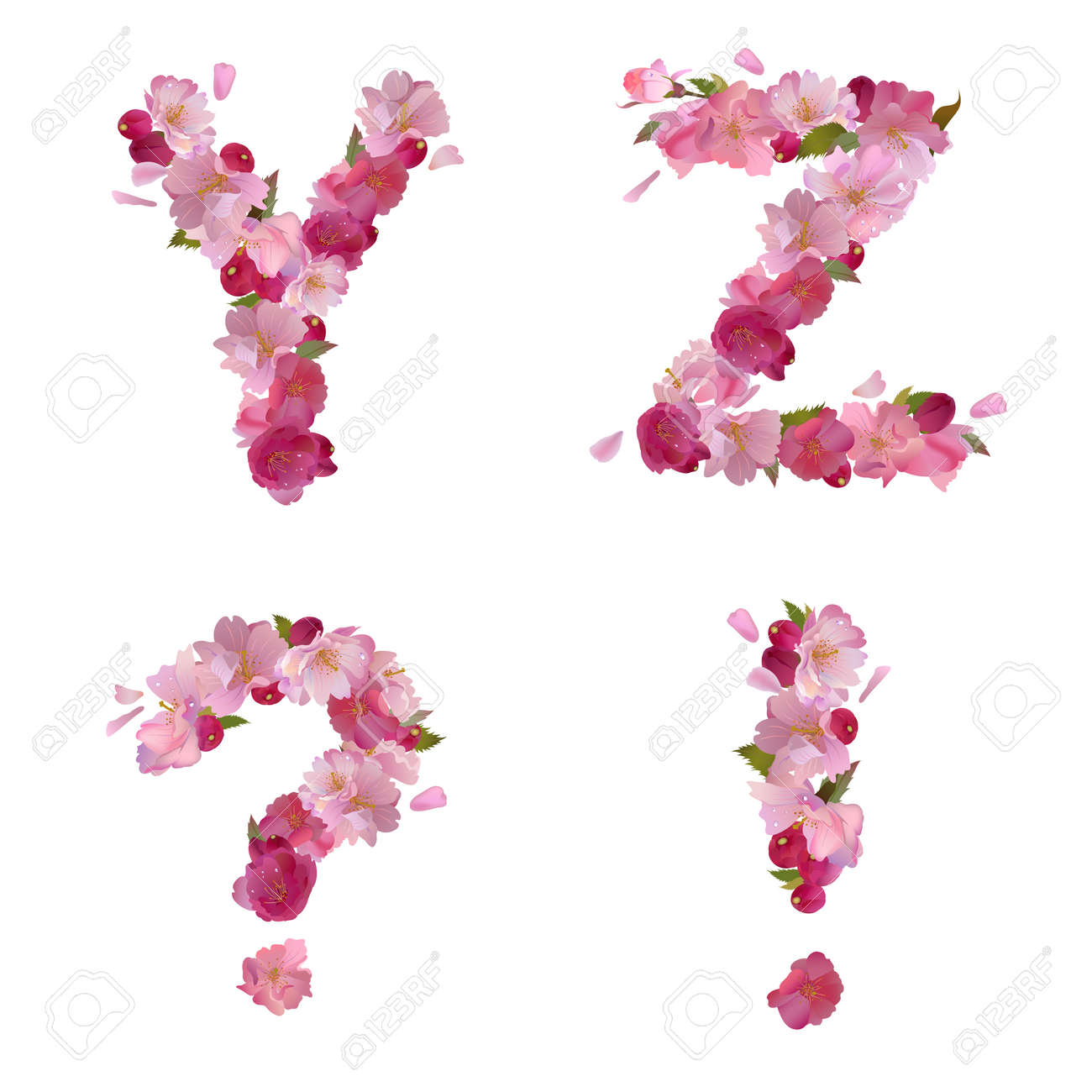 Spring Alphabet With Gentle Pink Sakura Flowers Letters Y Z And