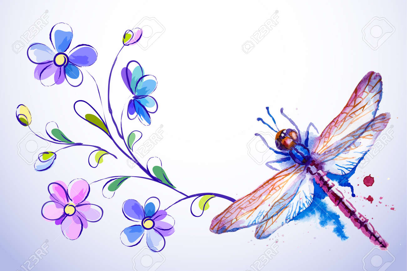vector greeting background with beautiful watercolor flying violet