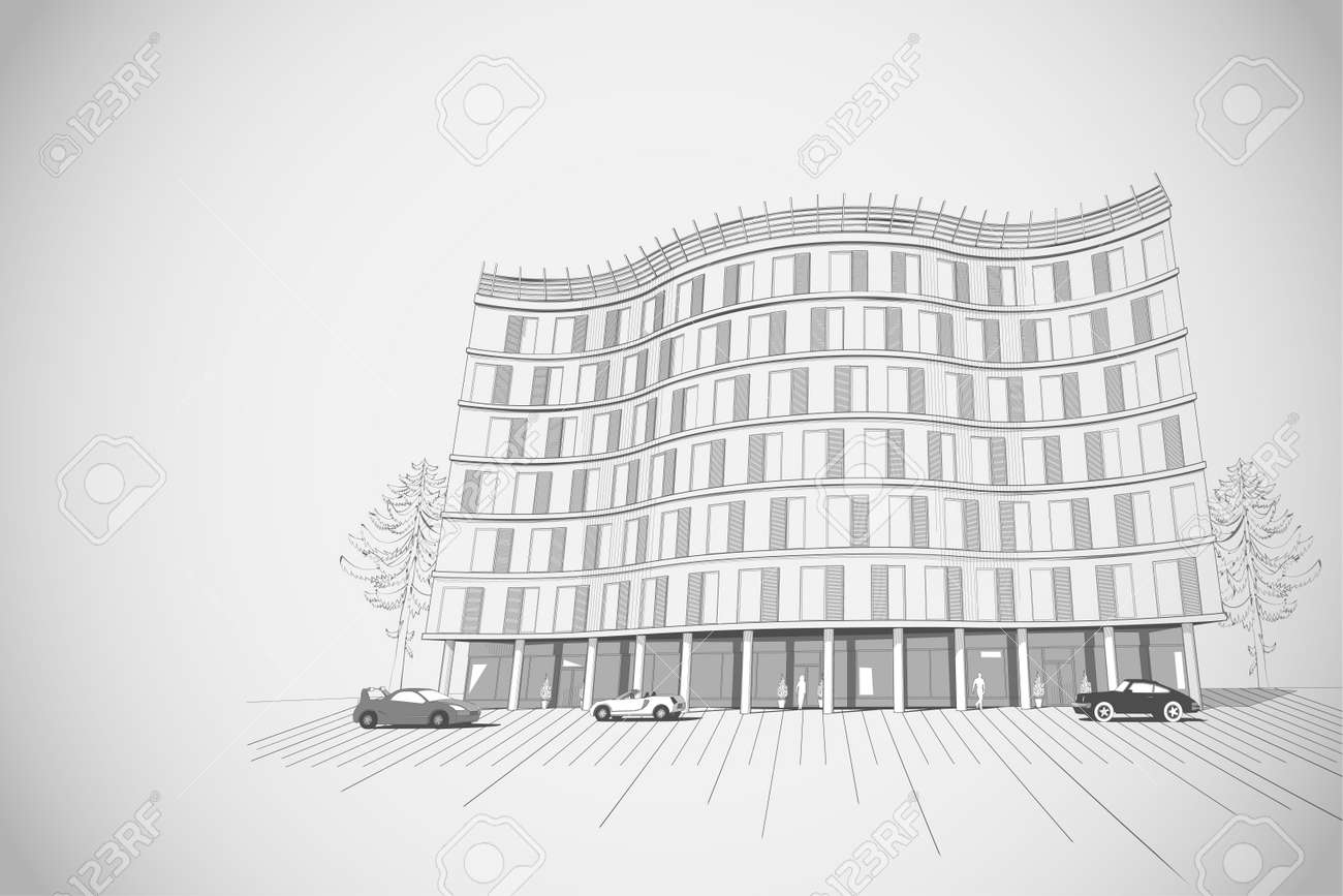 architectural grey monochrome background with modern apartment or office multistory building Stock Vector - 29591629