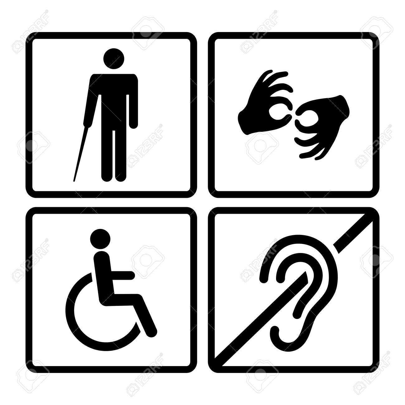 Vector Disabled Signs With Deaf Dumbmute Blind Wheelchair
