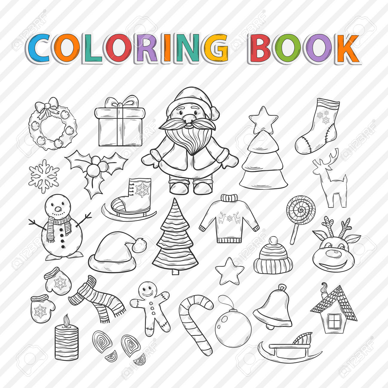 Coloring book snowflake - Vector Vector Coloring Book Merry Christmas Hand Drawn Set With Santa Claus Snowman Christmas Tree Sleigh Candy House Ice Skates Snowflake Gift Candle