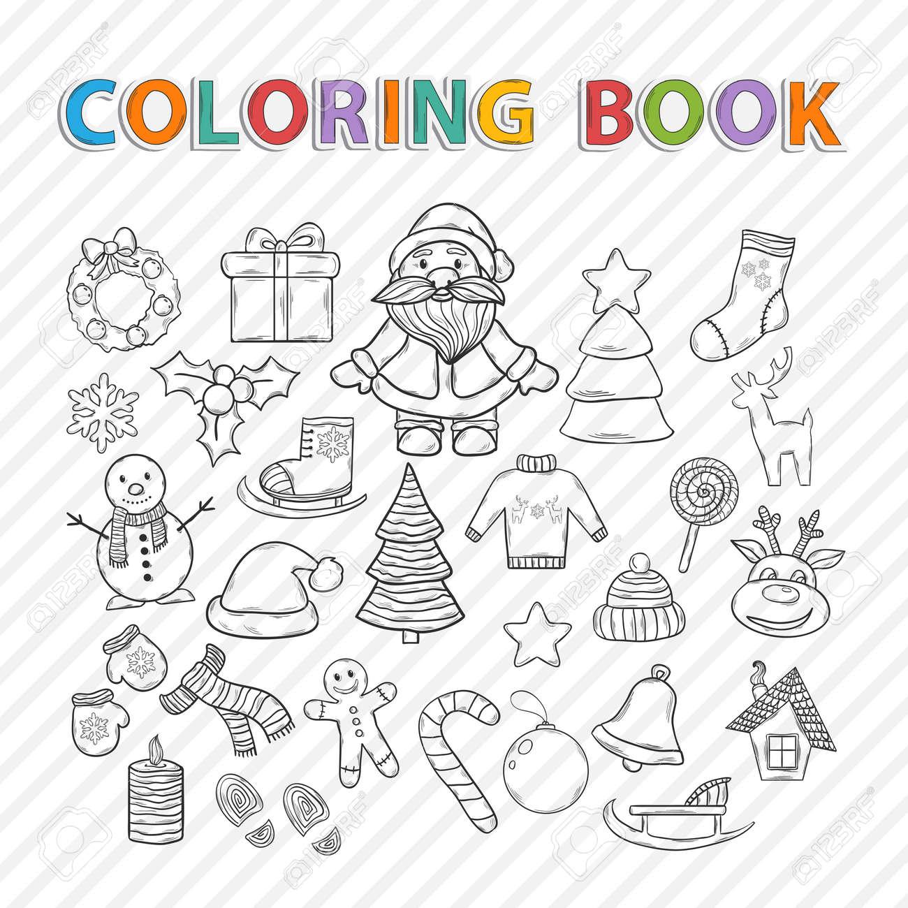 Vector Coloring Book Merry Christmas Hand Drawn Setwith Santa Claussnowman