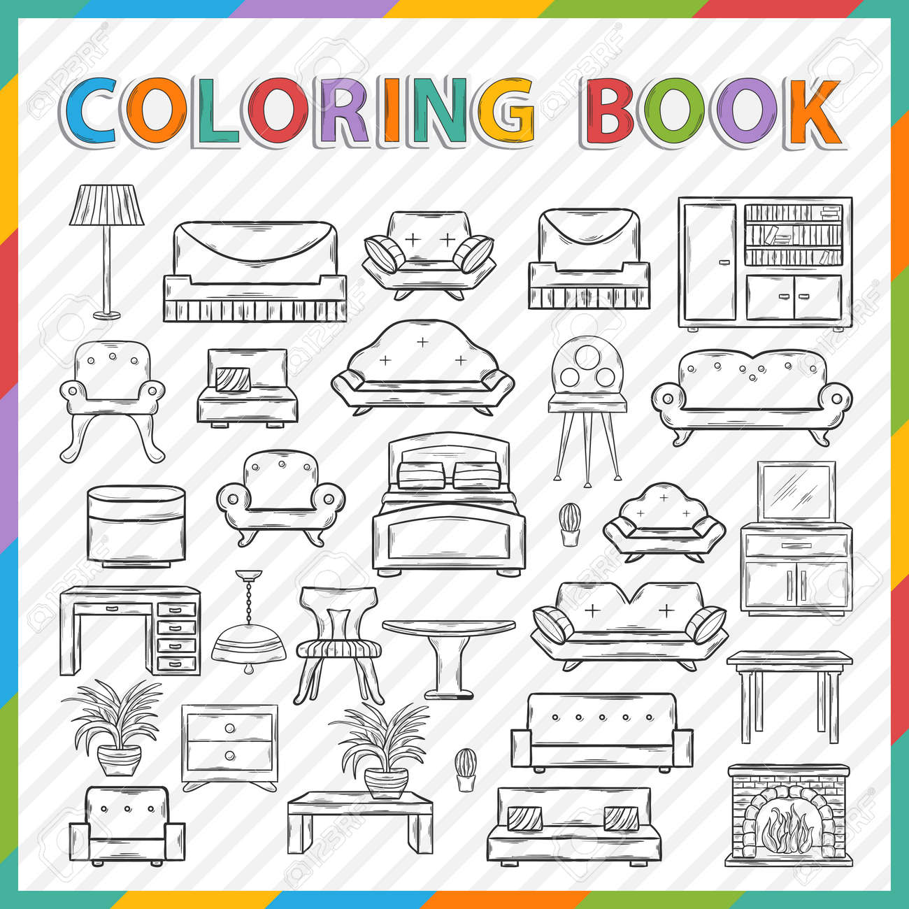 vector coloring bookhand drawn icon set with various home interior decorhome accessories - Coloring Book Paper Stock