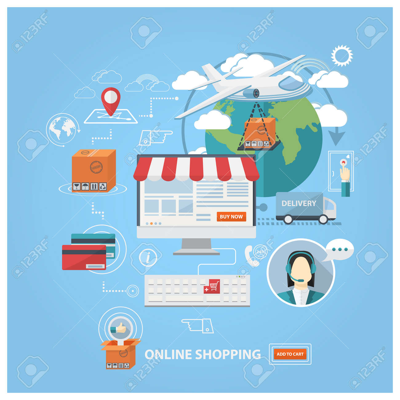 Poster design online - Vector Vector Flat Design Shopping Concept Buying Online And E Commerce Poster Online Shop And Shopping Elements Online Store Support Payment Online