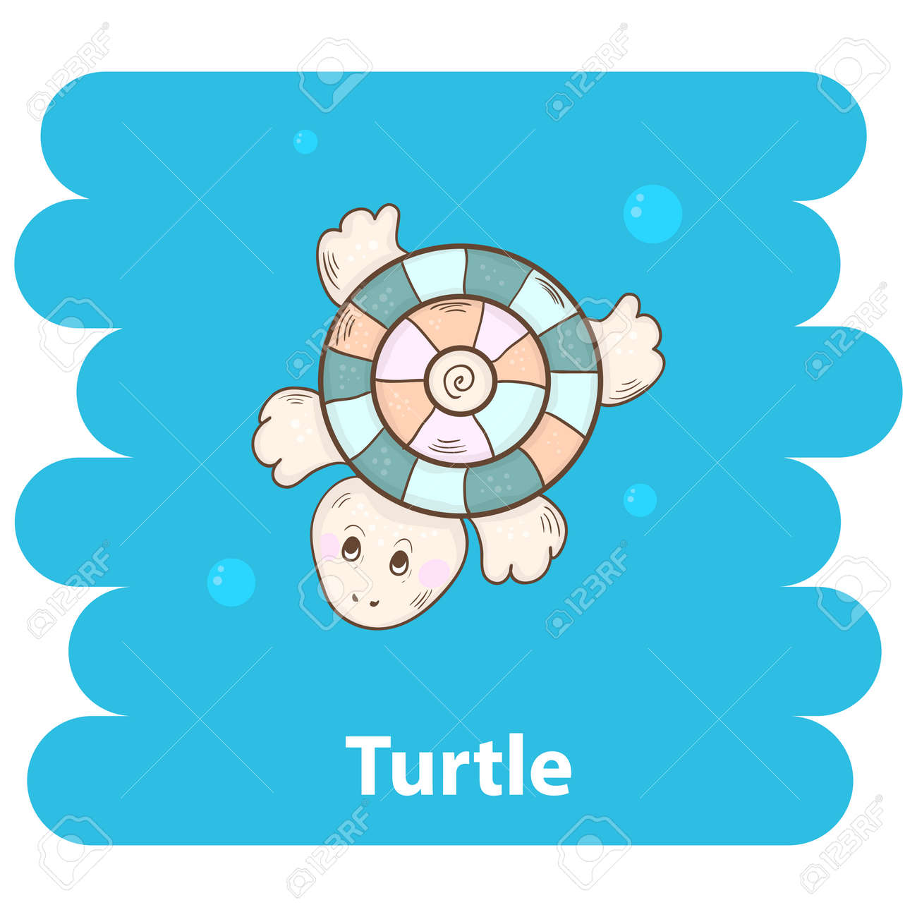 Cute Cartoon Turtle Vector Illustration Cartoon Animal Turtle