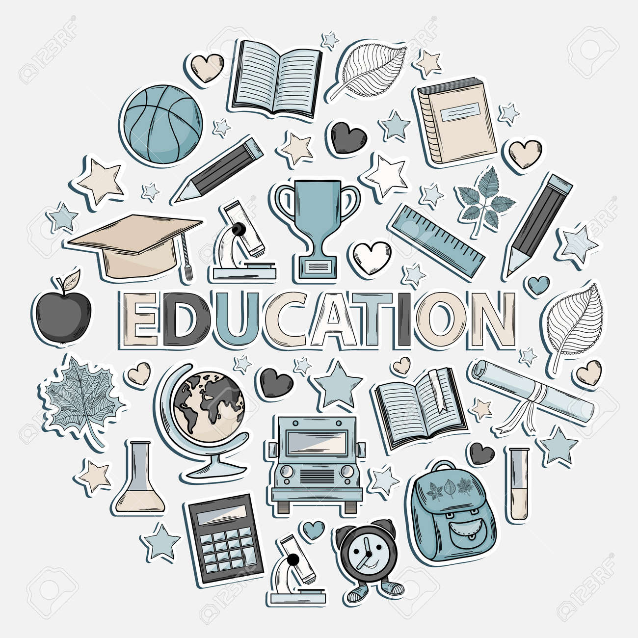 Education set icon in the form of a circle isolated on a white
