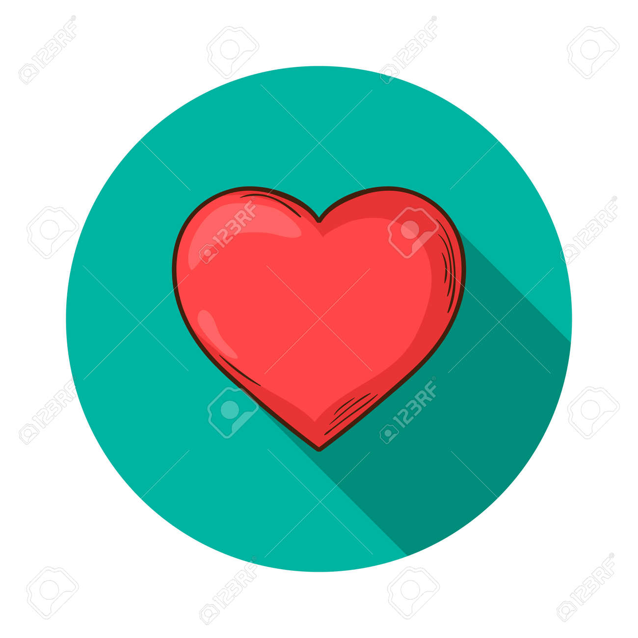 heart icon vector heart icon isolated with shadow hand draw