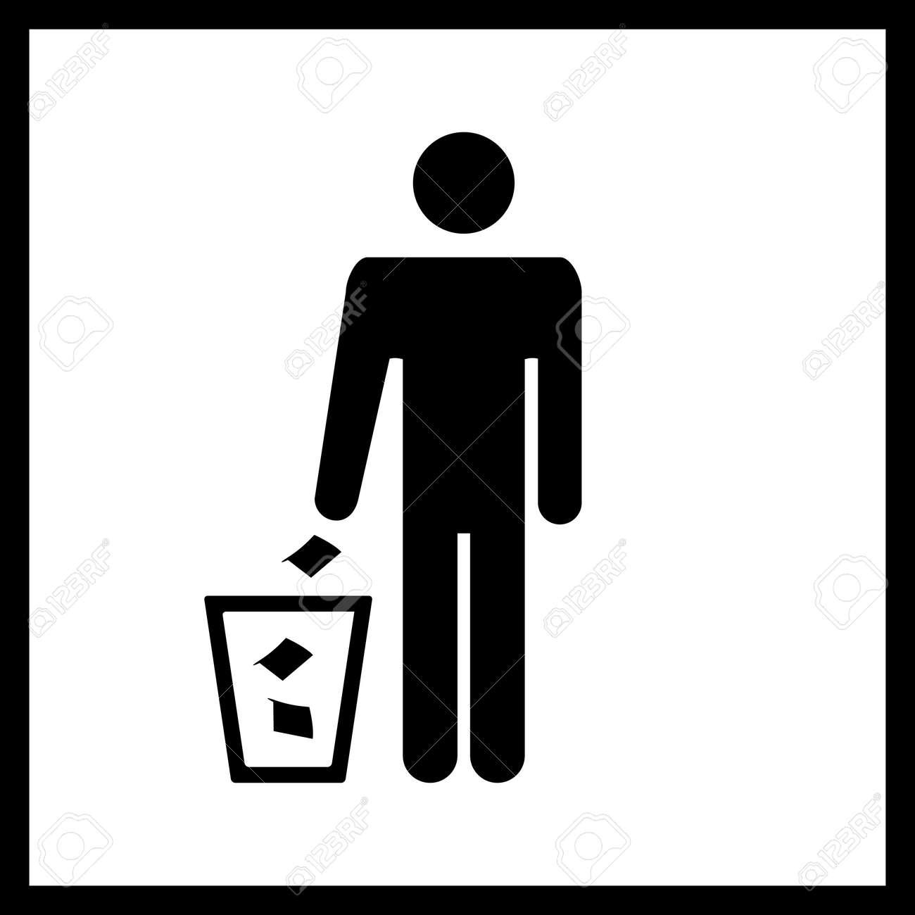 Stickman Garbage Bin Vector Graphic