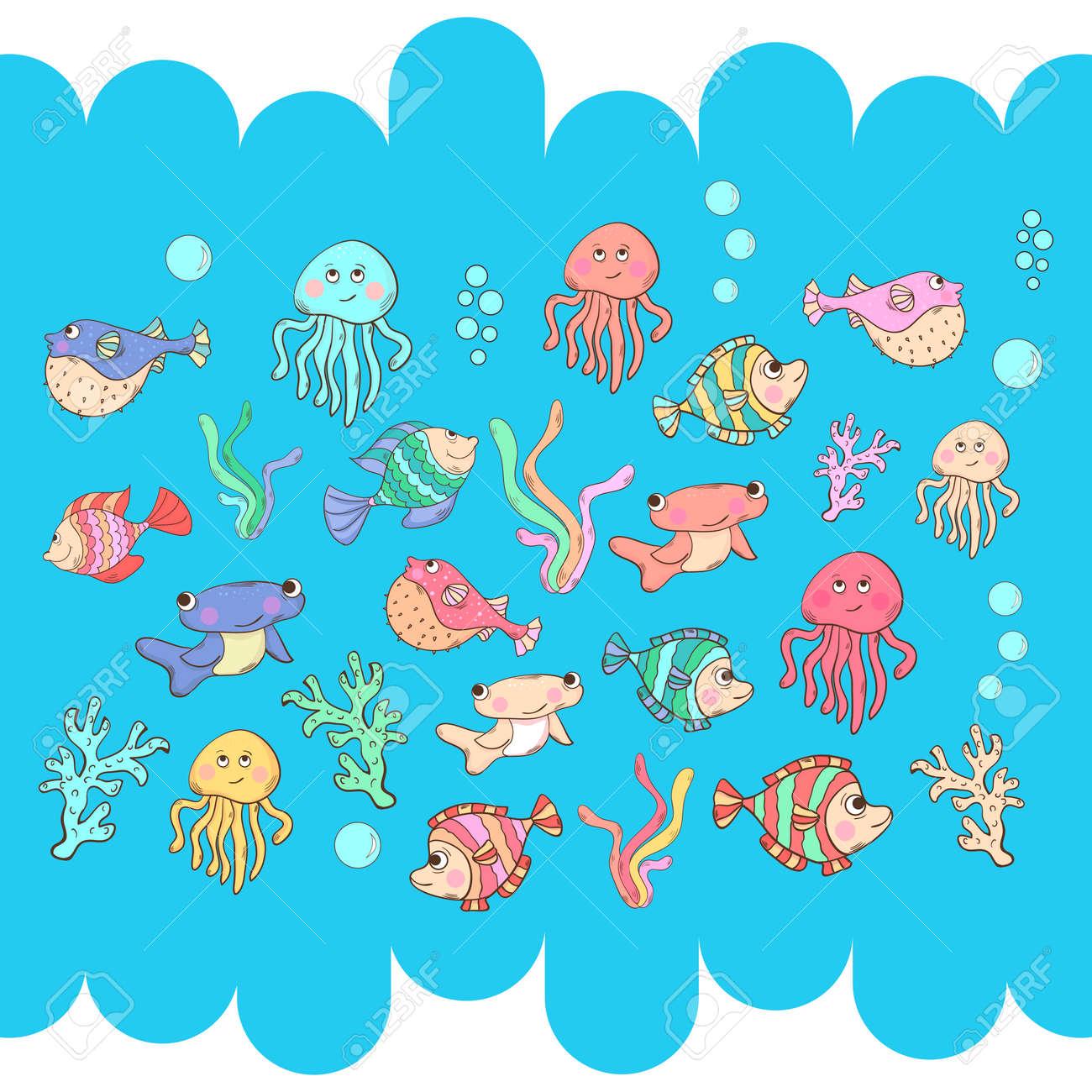 La Vie Marine Les Habitants De La Mer De Dessin Animé Isolés Sur Un Fond