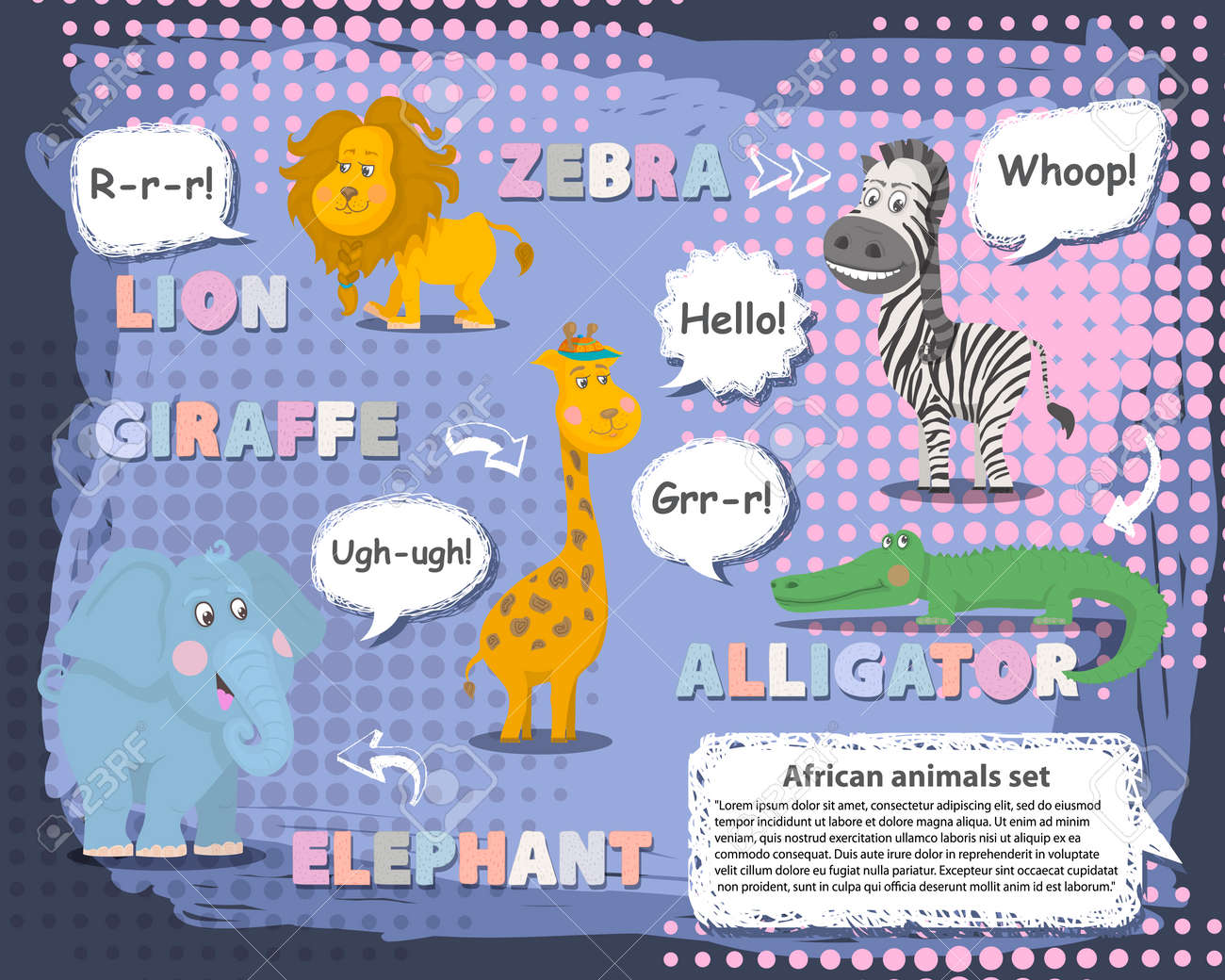 African animals set with talking bubble ,voice and name Vector