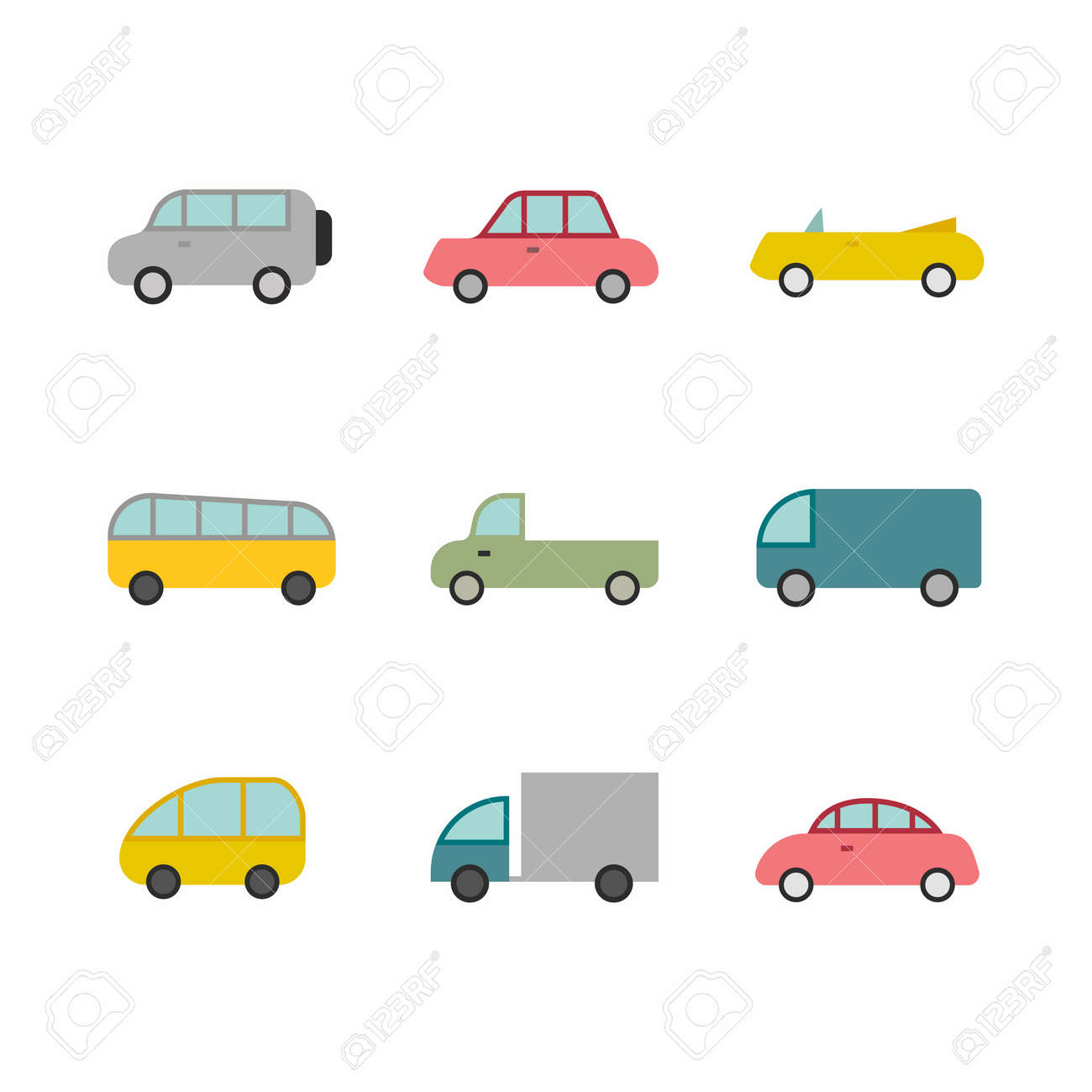 Car transport icon,sign,pictogram,symbol set isolated on a background flat style - 125913686
