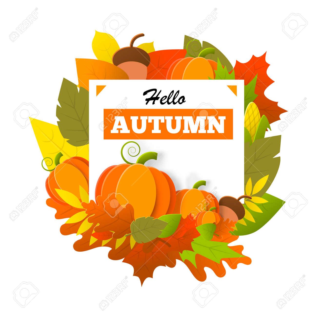 Hello autumn banner isolated - 141218251