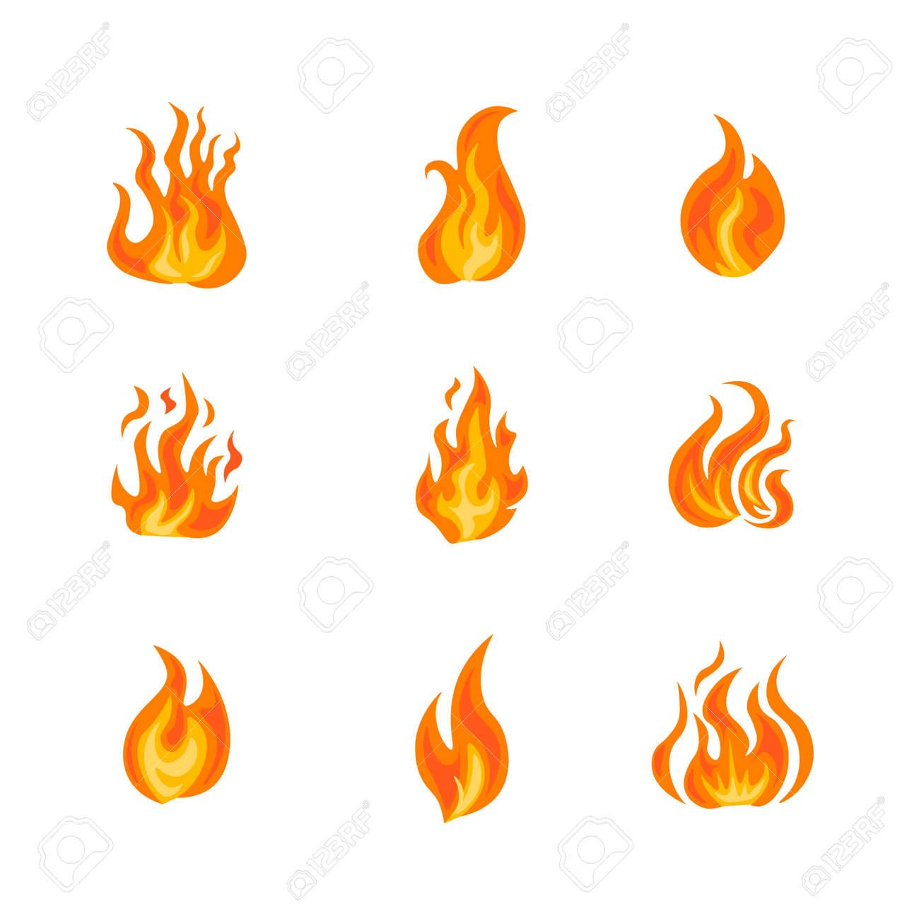 Fire frame icon set illustration - 141373340