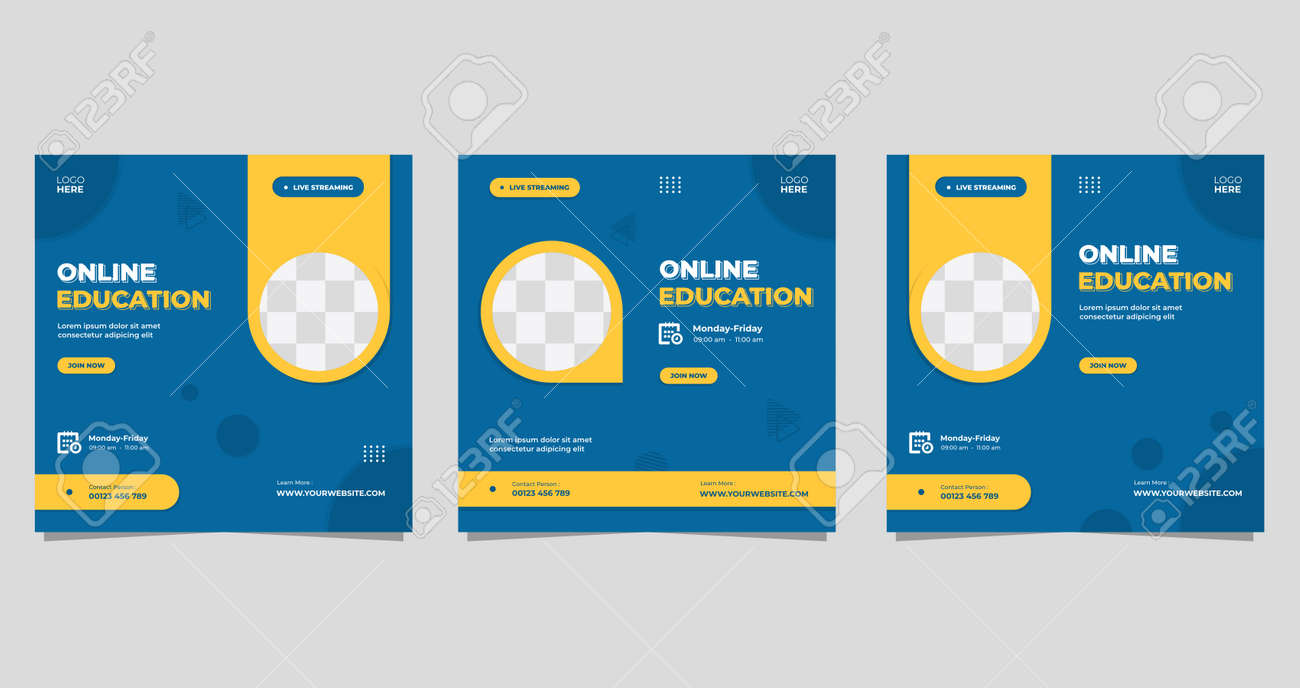 Set of minimalist background with circle yellow frame. Suitable for social media post template, Online education, Business webinar, and Other Seminar - 162527562