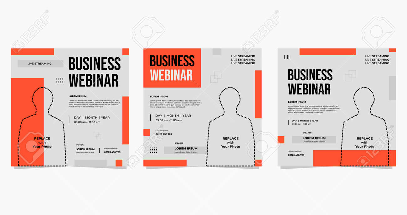 Minimalist set of social media post templates on white and red Geometric background. perfect for business webinars, online conference events, online education, etc. - 172616134
