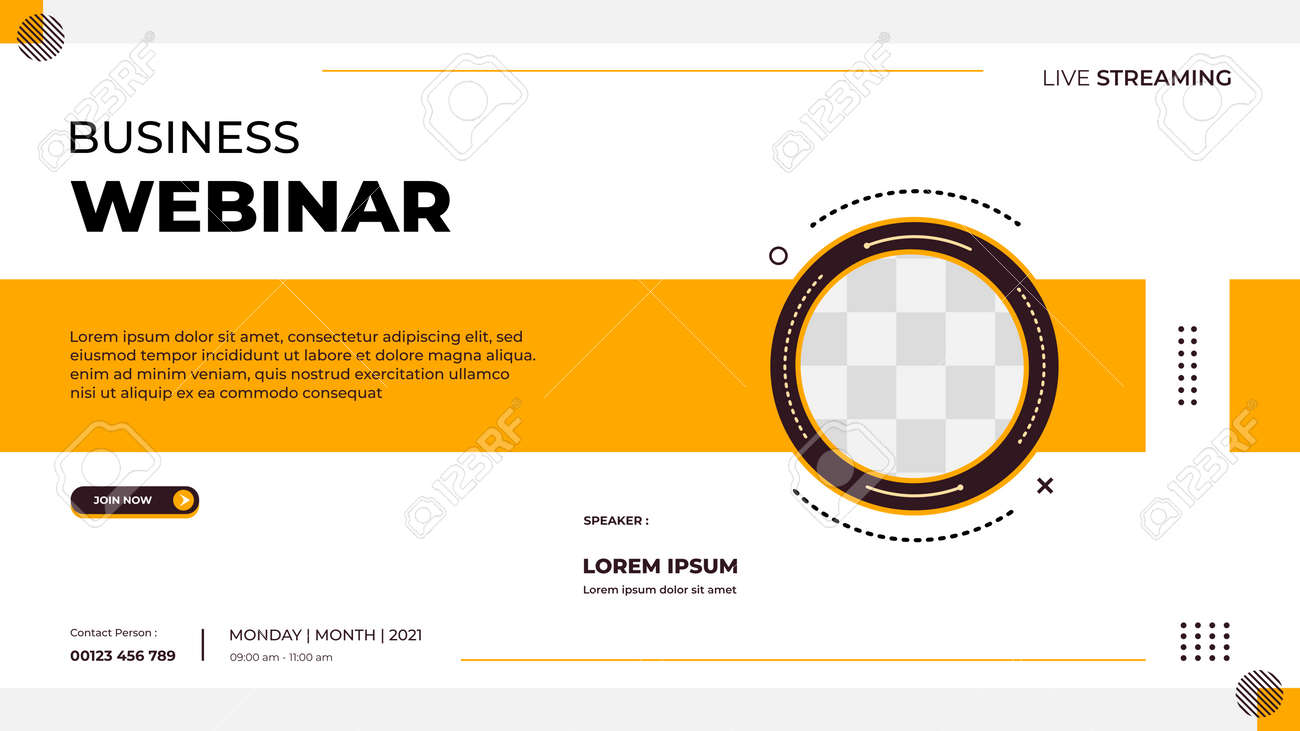 Business webinar banner template for website with circle frame and minimalist concept of geometric shapes - 172615886
