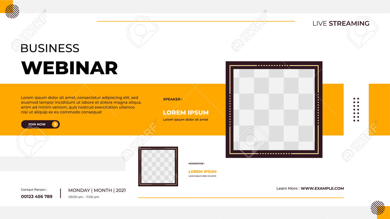 Business webinar banner template for website with square frame and geometric shape concept - 172615745
