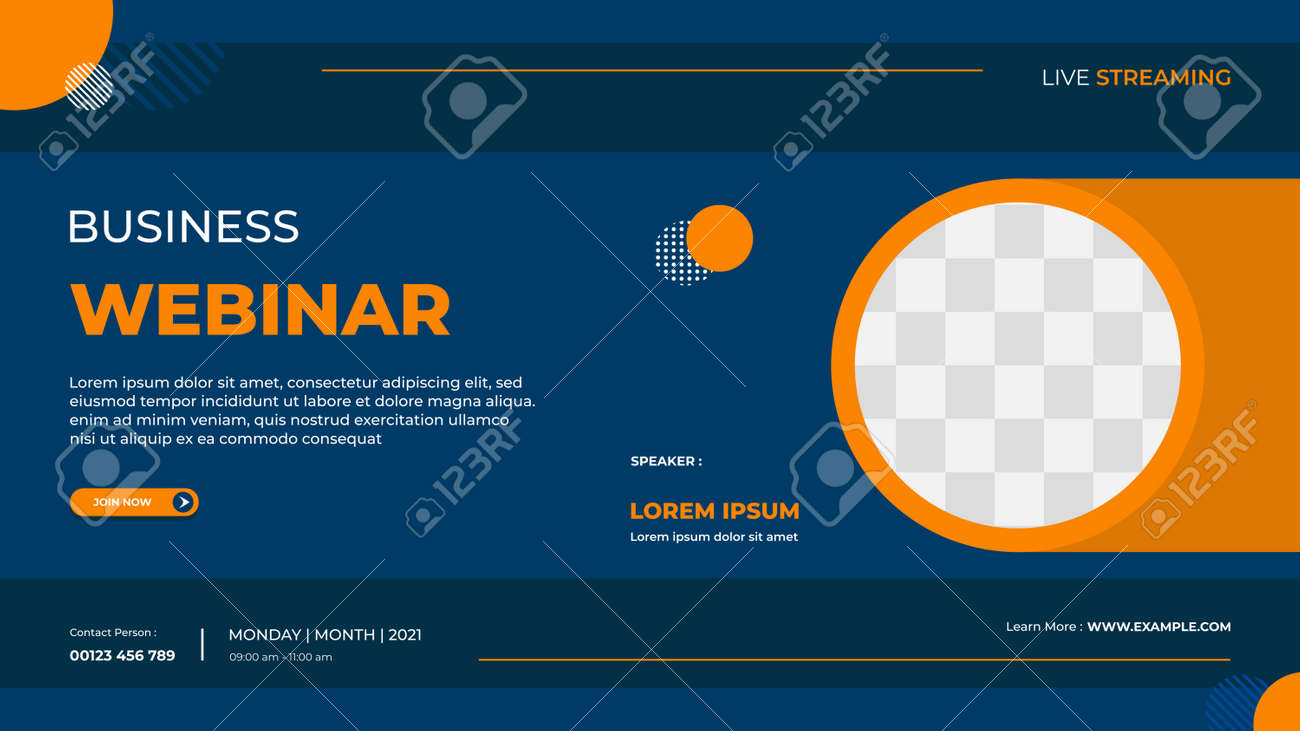 Business webinar banner template for website with circle frame and minimal concept of geometric background - 172656008