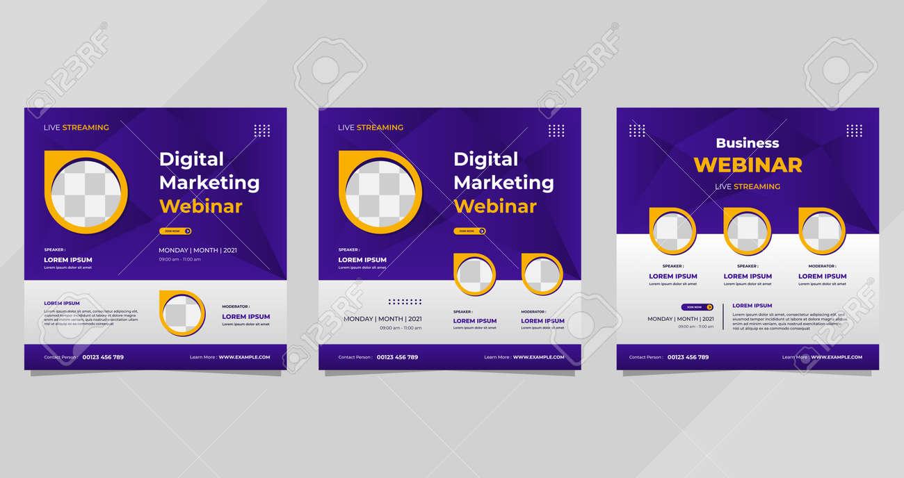 Set of digital marketing webinar social media post templates on purple background and circle frame - 173104564