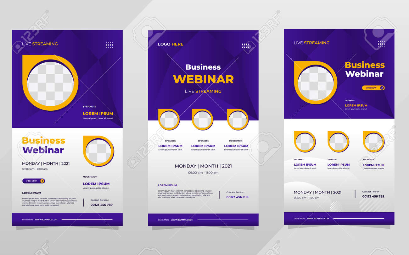 Set of social media stories post template on purple background and circle frame, suitable for business webinar and digital marketing webinar - 173104566