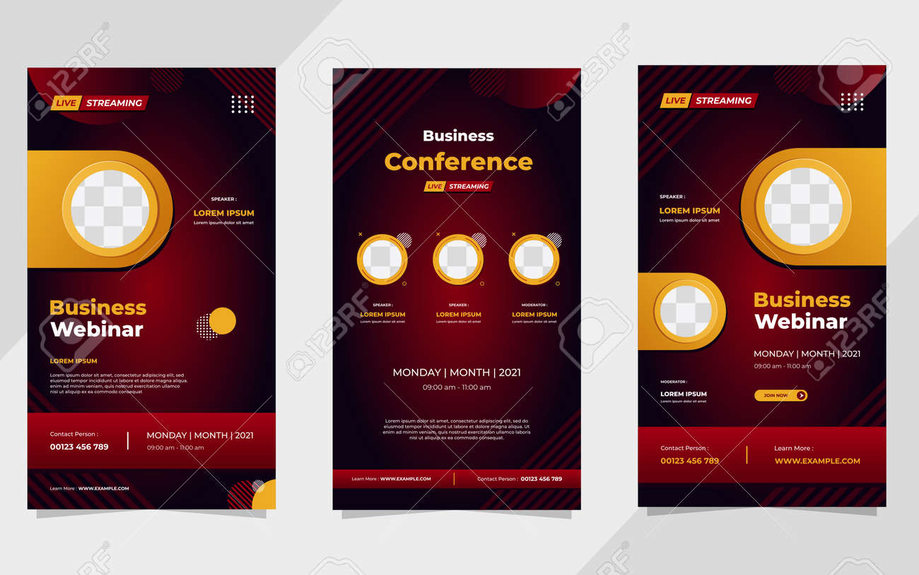Set of business webinar social media stories post template with red gradient geometric background and circle frame - 173104575