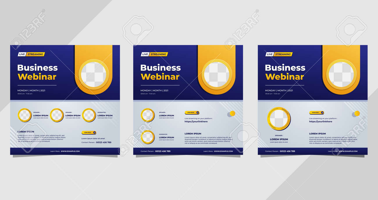 Set of business webinar social media post templates on blue and white background and circle frame - 173104603