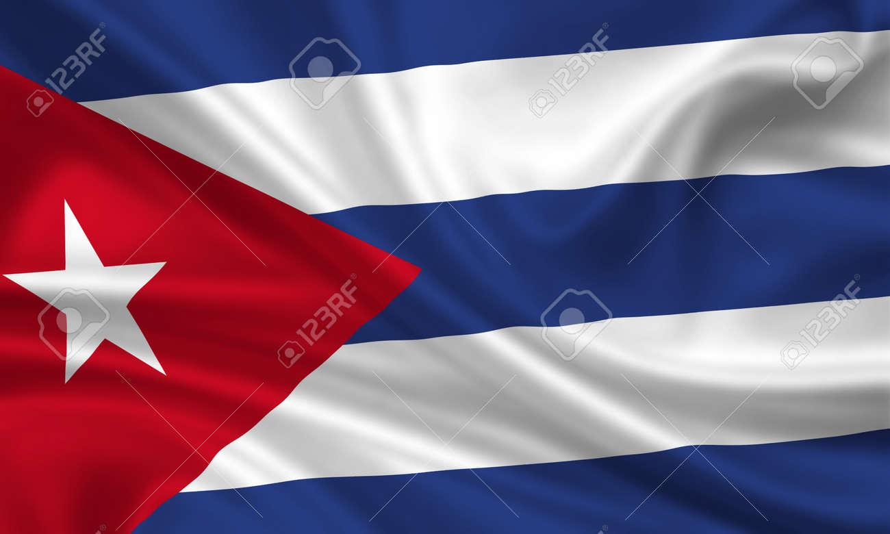 waving flag of cuba Stock Photo - 15250955
