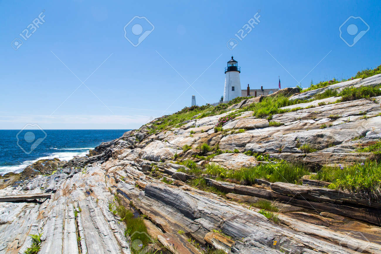 Stock Photo   The Pemaquid Point Light Is A Historic U.S. Lighthouse  Located In Bristol, Lincoln County, Maine