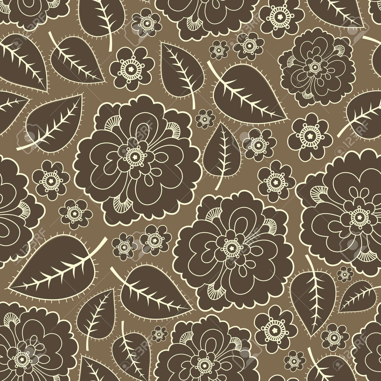 Brown leafs and flowers - seamless pattern Stock Vector - 11338285
