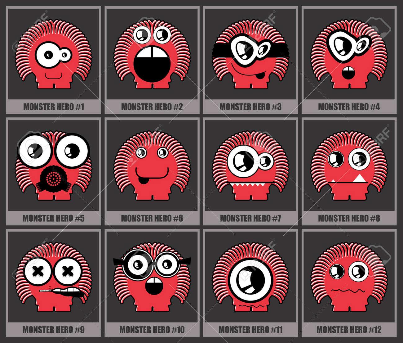 Twelve colorful monsters Stock Vector - 12492542