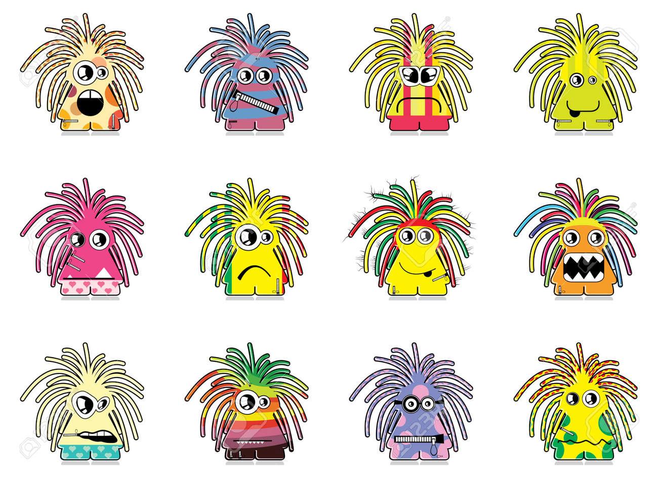 Set of twelve monsters Stock Vector - 13228582