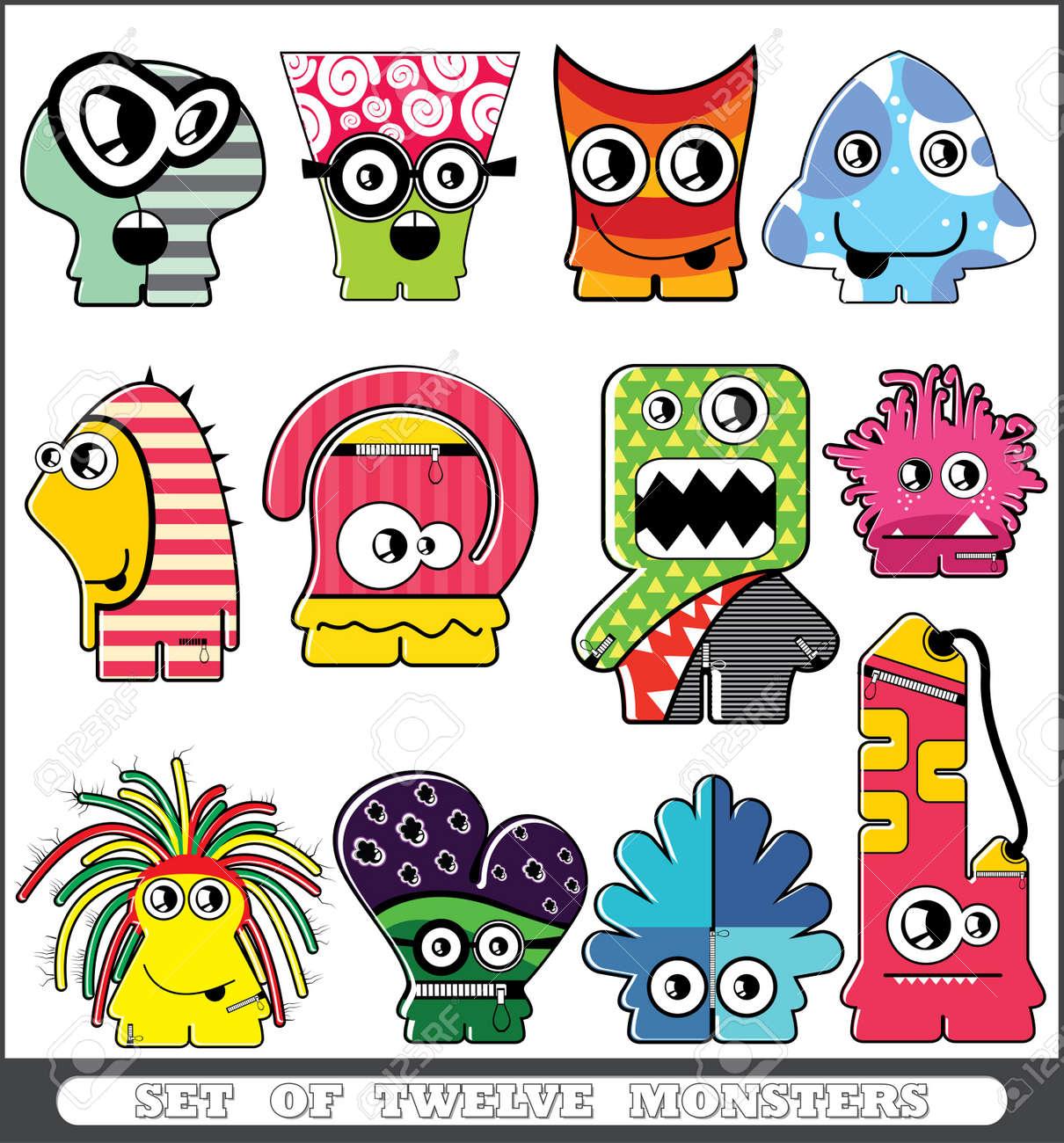 Set of twelve monsters Stock Vector - 13779949