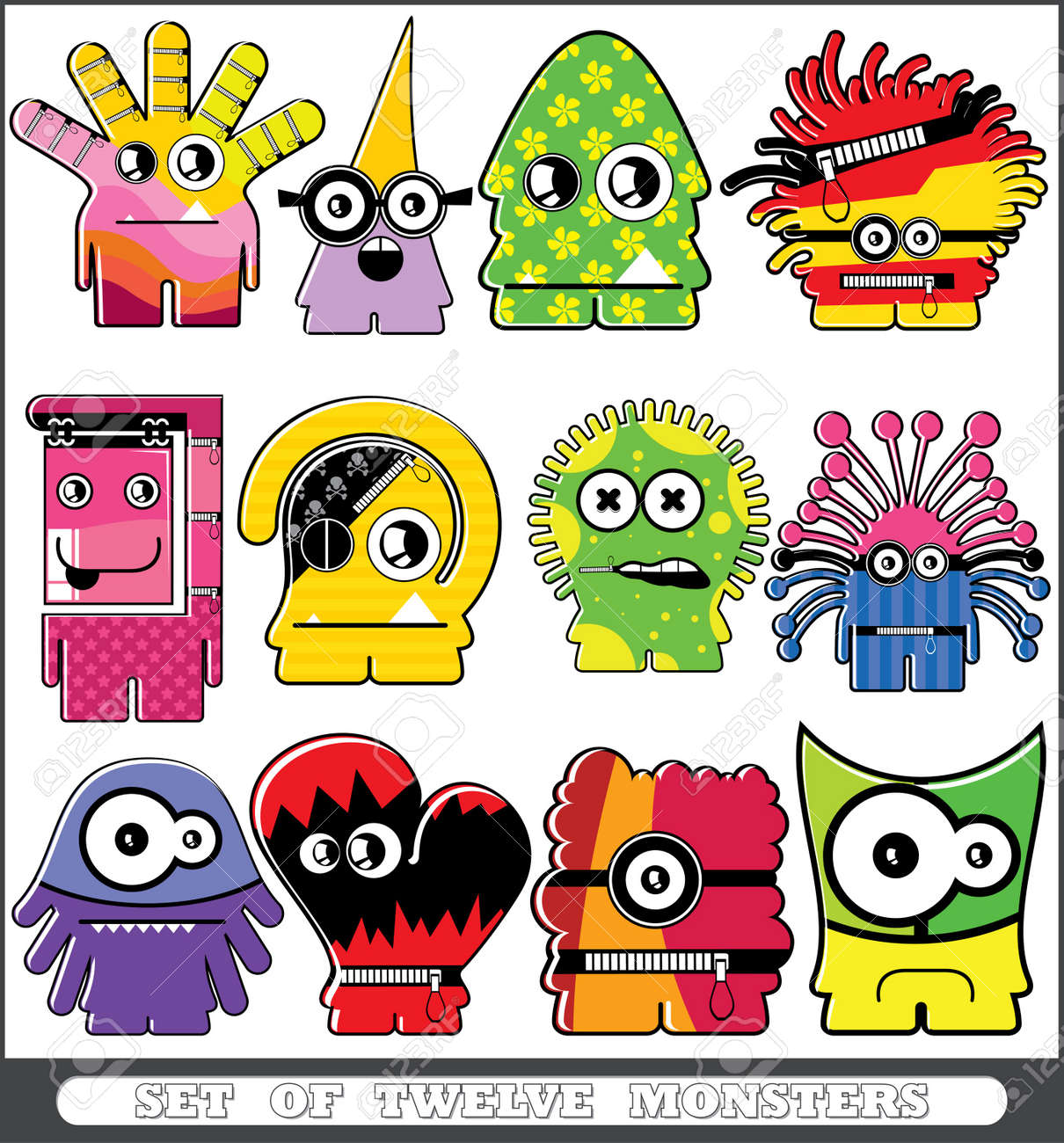 Set of twelve monsters Stock Vector - 13779957