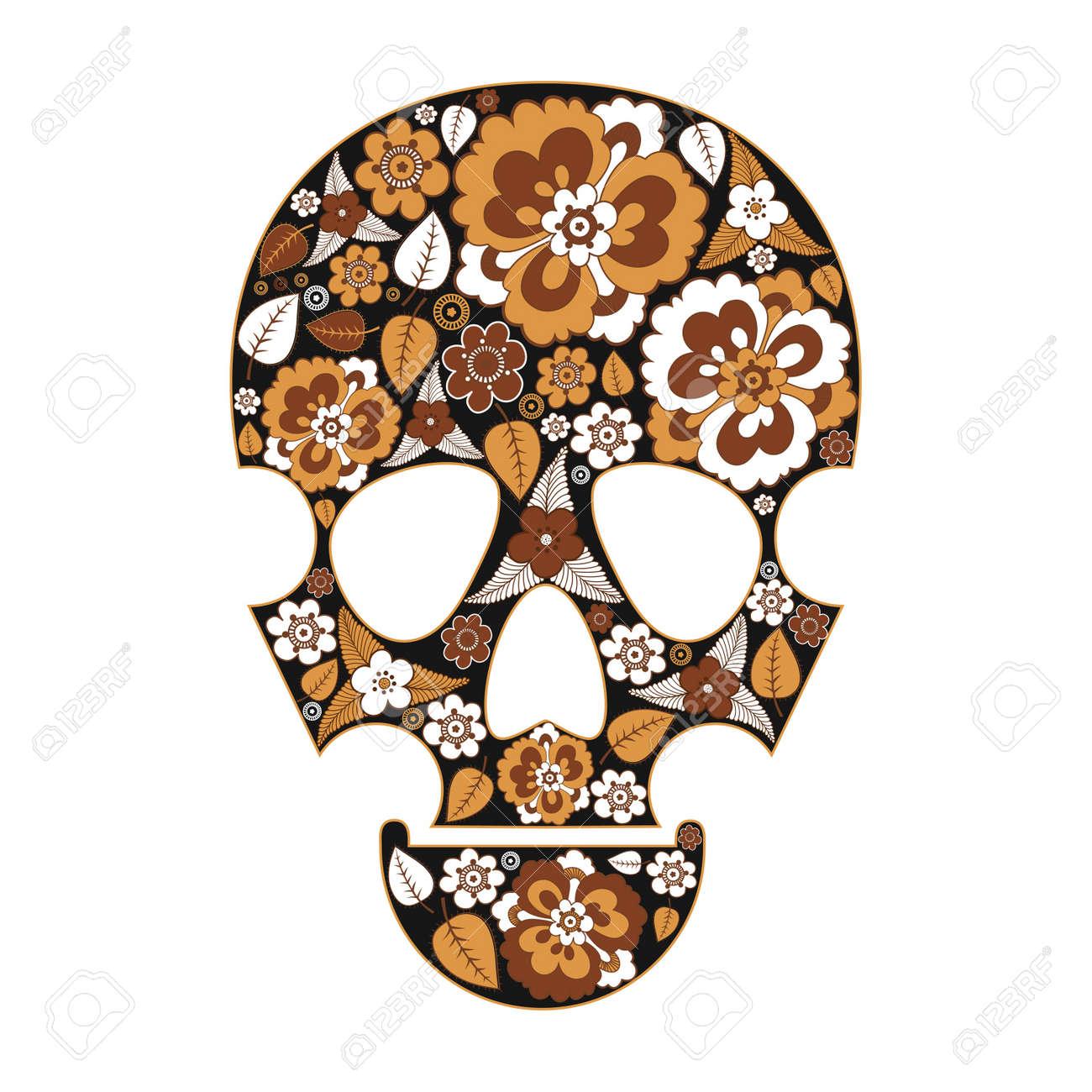 Skull in flowers Stock Vector - 13822380