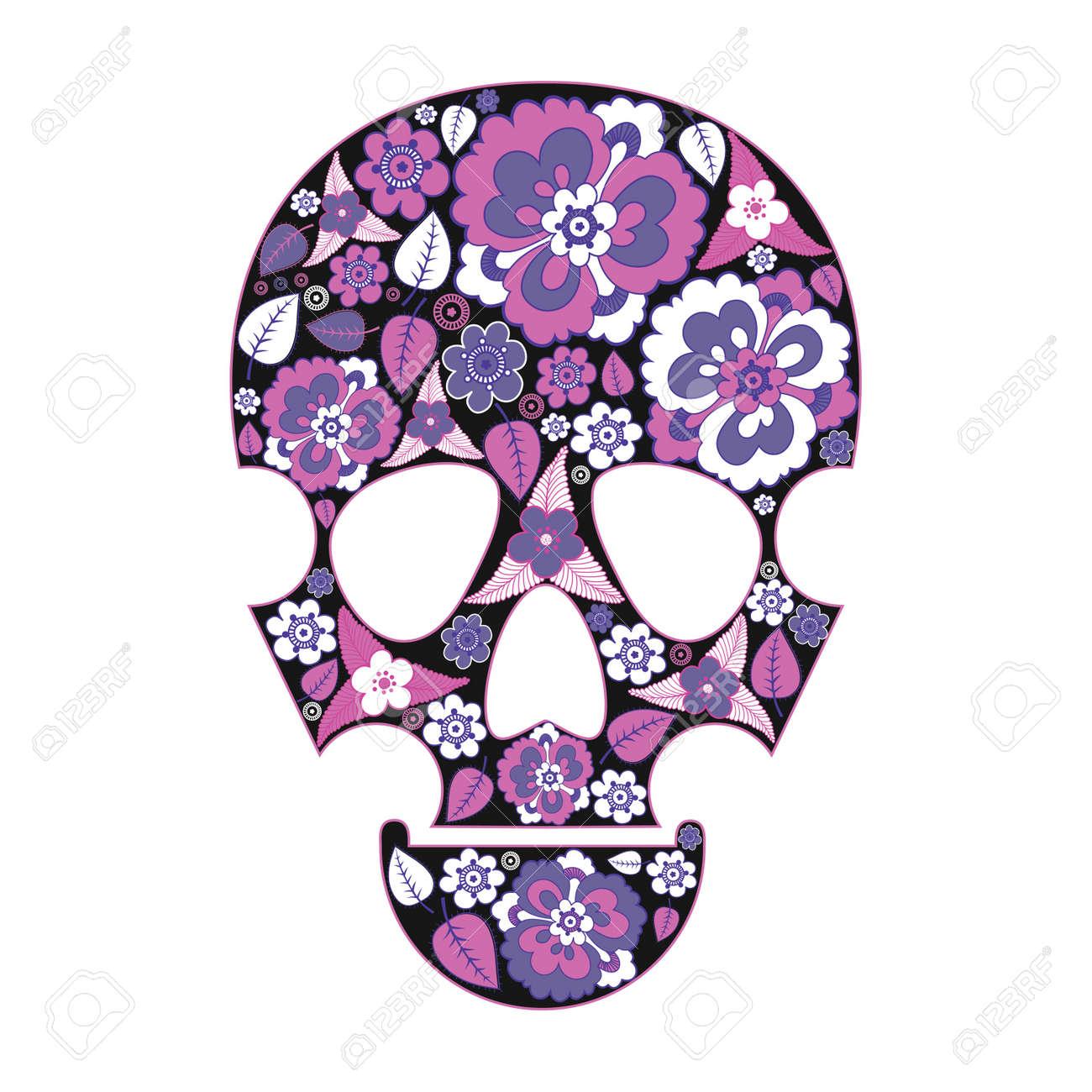 Skull in flowers Stock Vector - 13822381