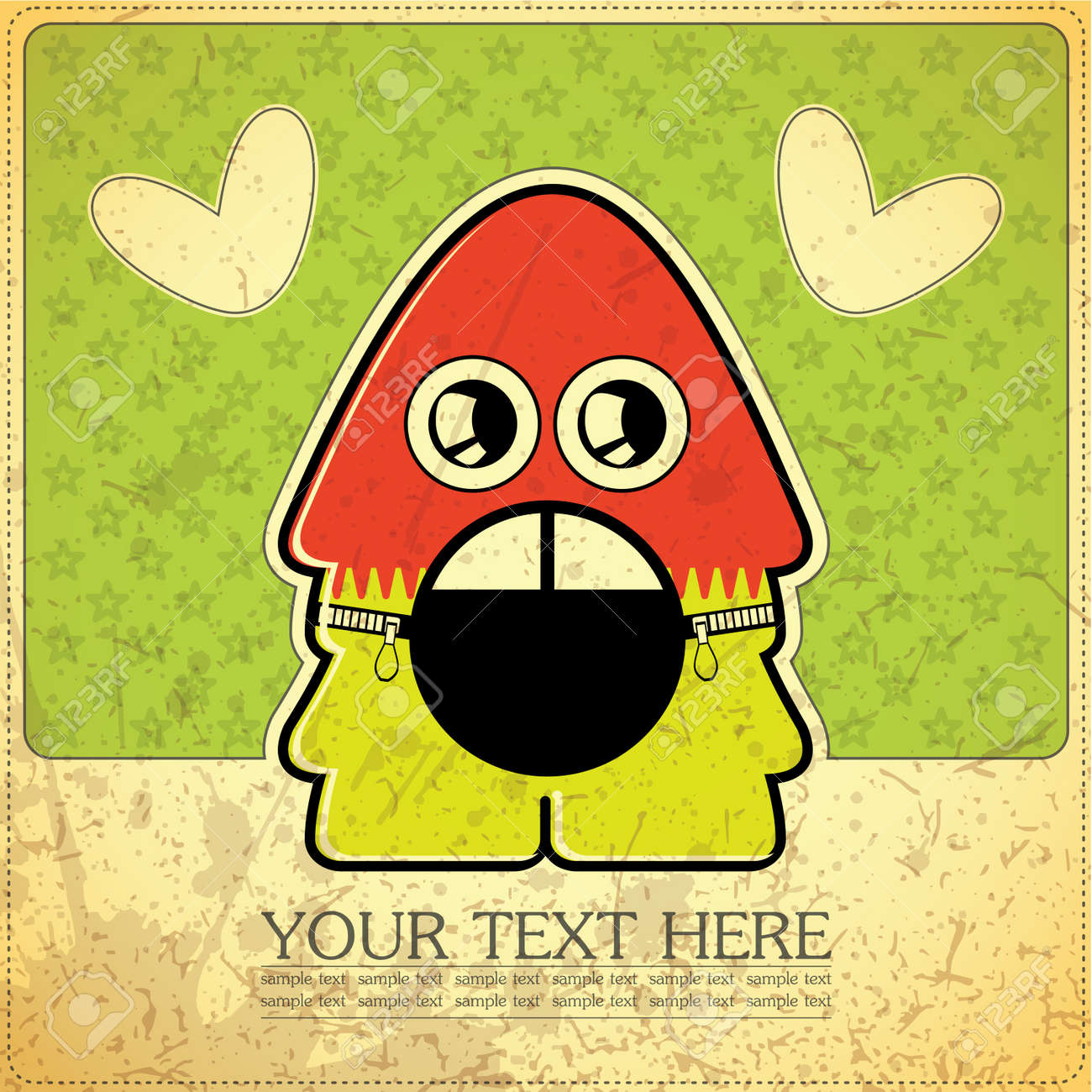 Monster on retro background Stock Vector - 15239120