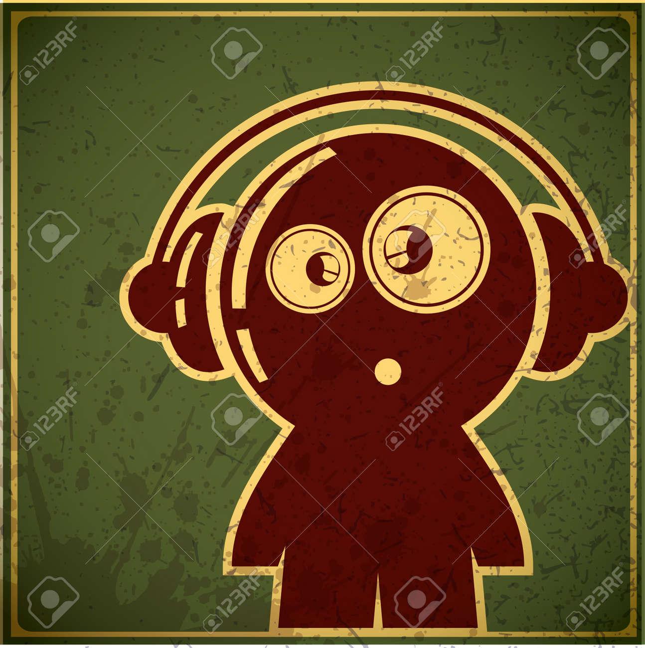 funny boy with headphones Stock Vector - 15640571
