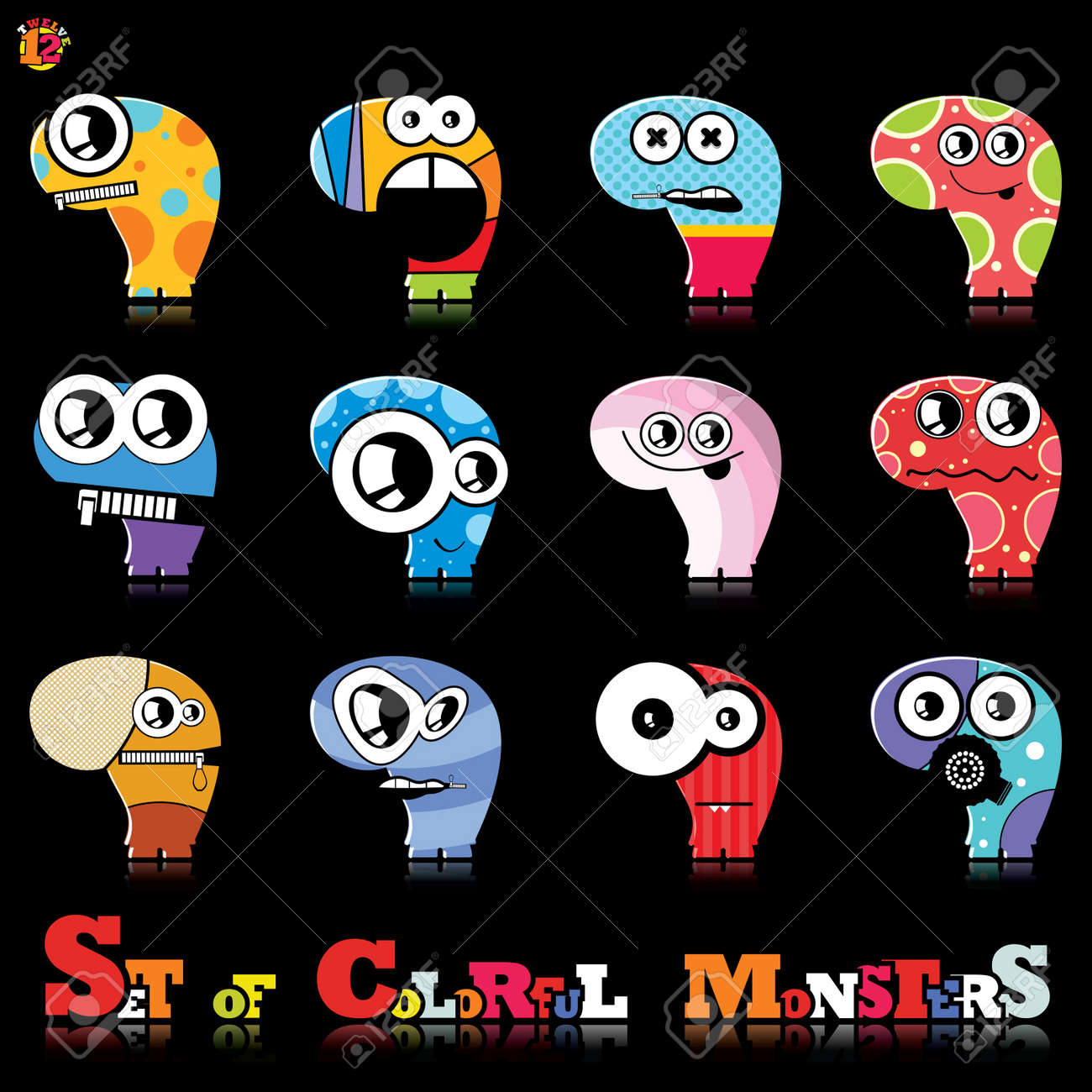 Set of twelve colorful monsters Stock Vector - 15835112