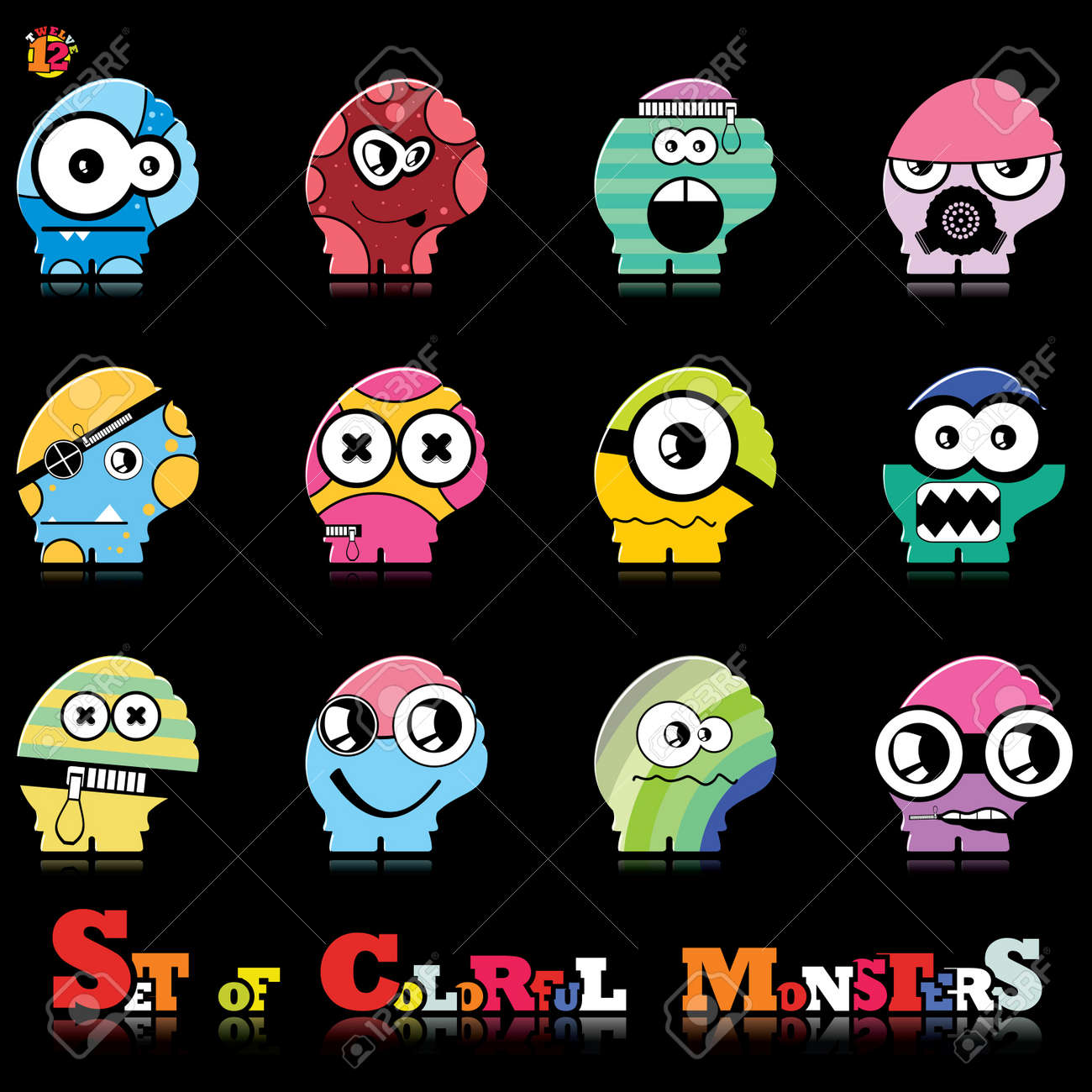 Set of twelve colorful monsters Stock Vector - 15835059