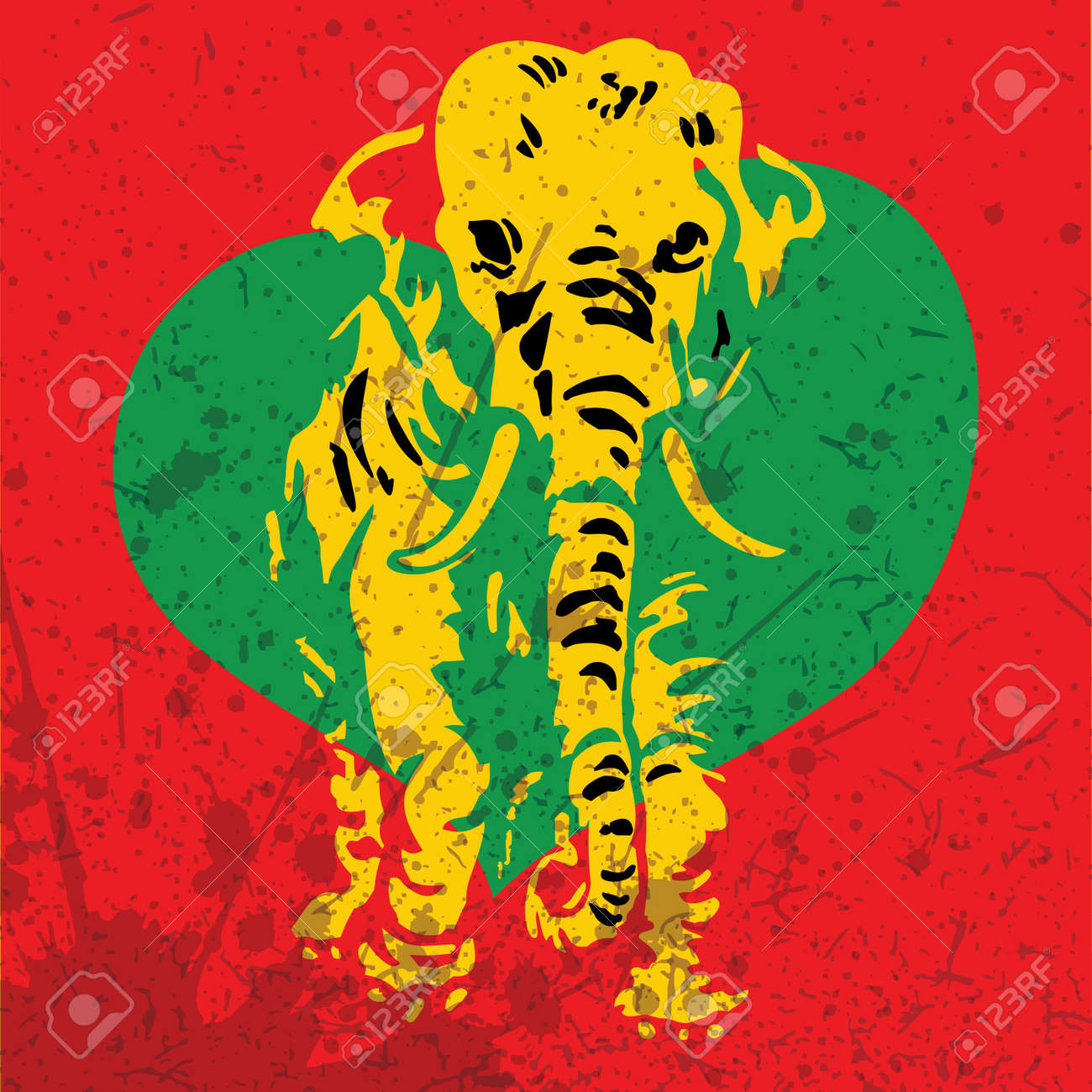 Retro elephant with heart- grunge background Stock Vector - 16158914