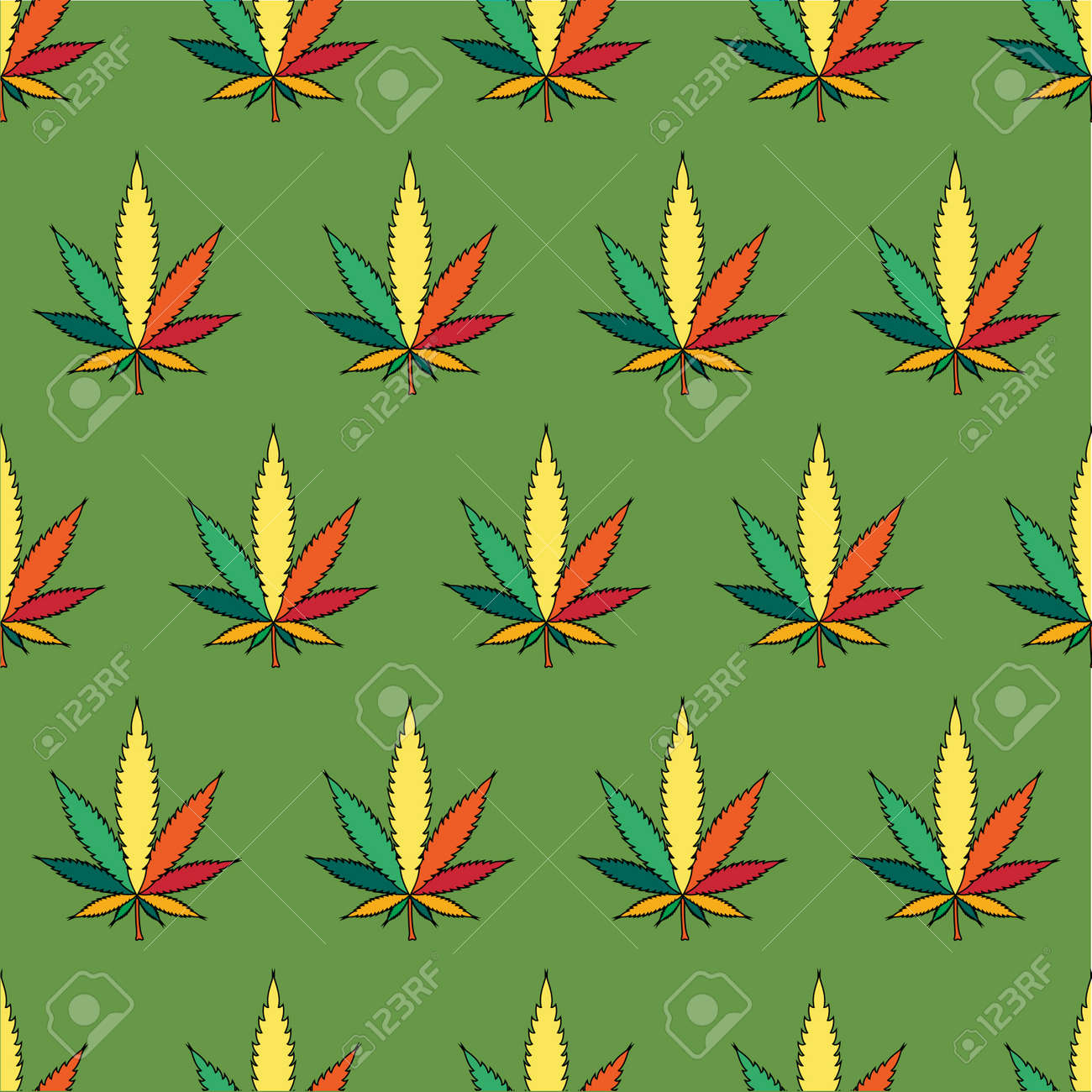 Cannabis leafs  - seamless pattern Stock Vector - 16421417